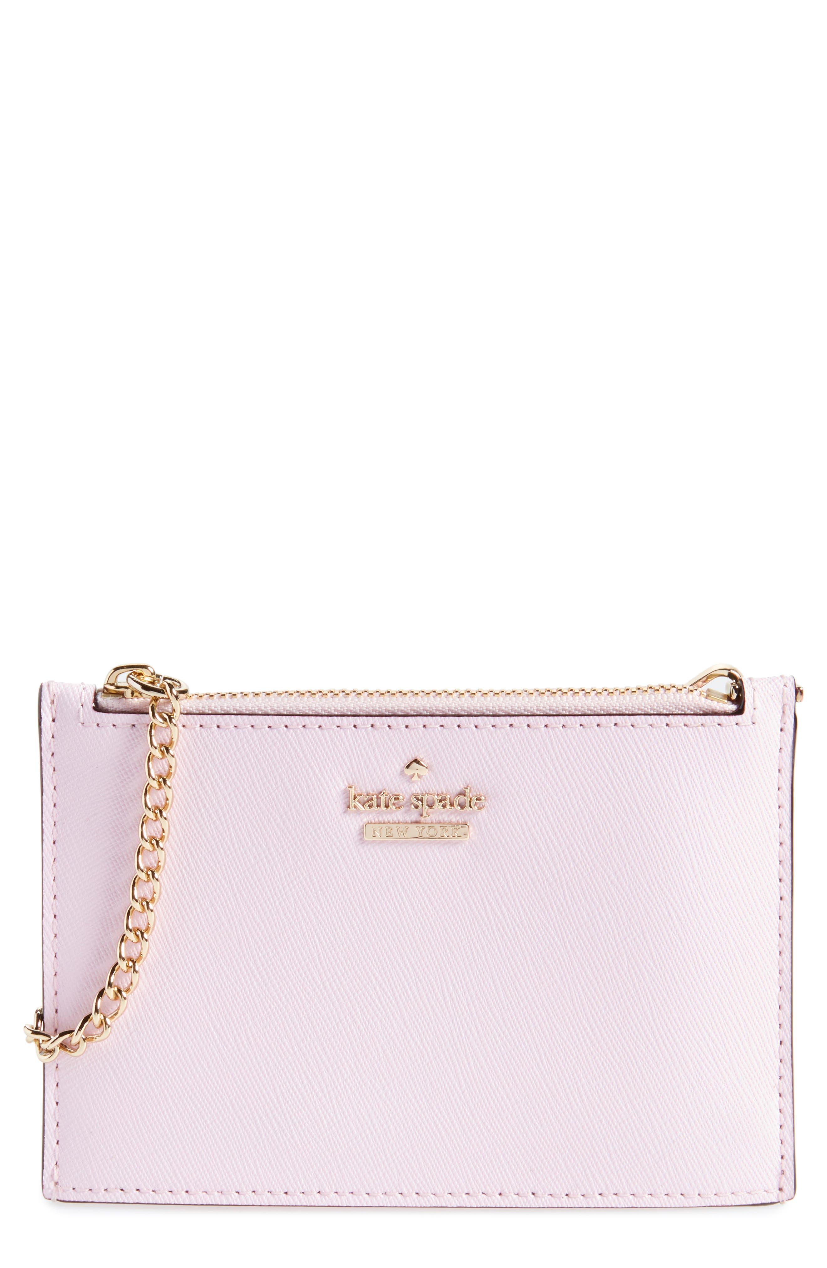 cameron street caroline leather zip pouch,                             Main thumbnail 1, color,                             Pink Lemonade