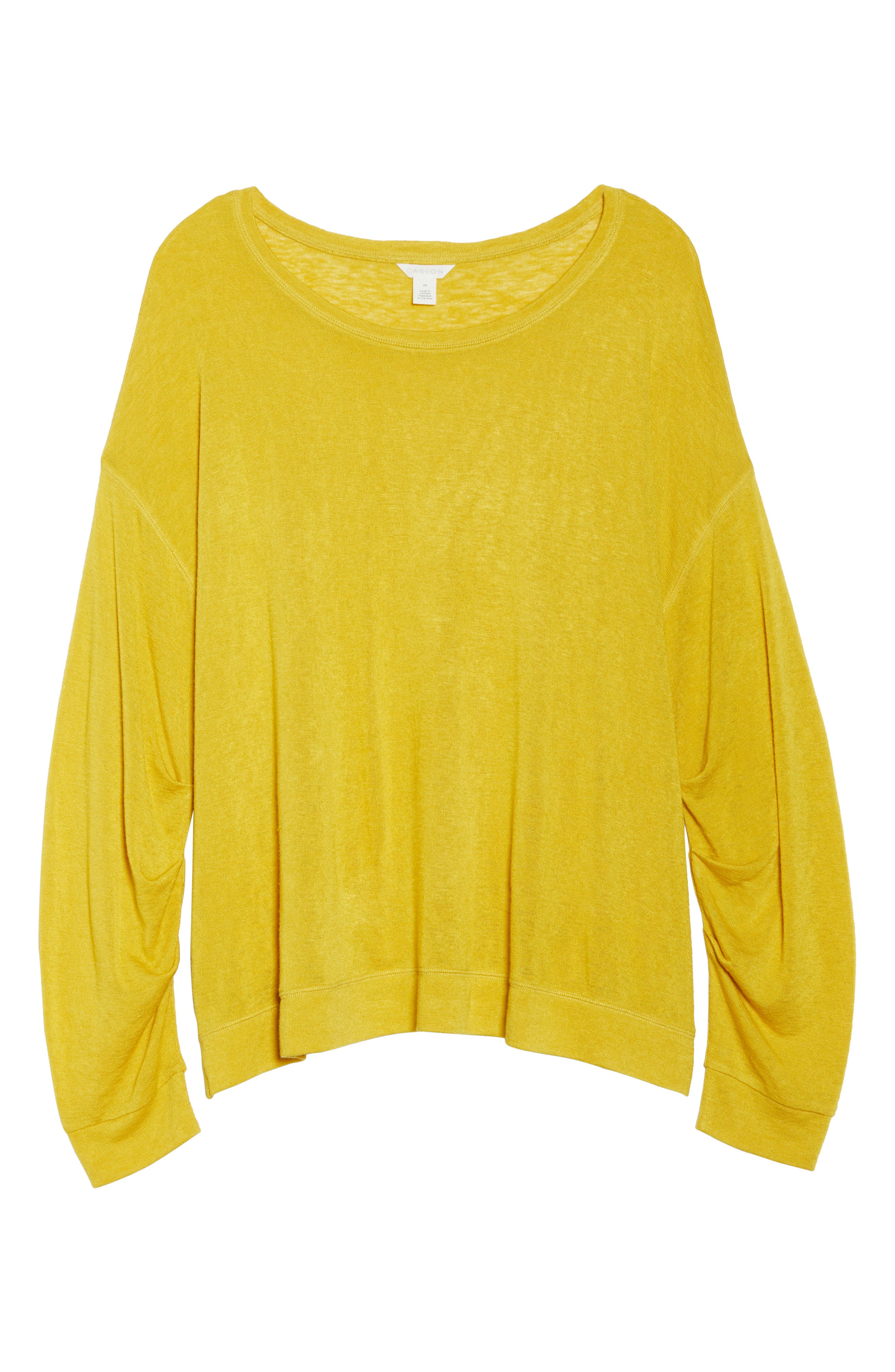 Tuck Sleeve Sweatshirt,                             Alternate thumbnail 6, color,                             Yellow Tea