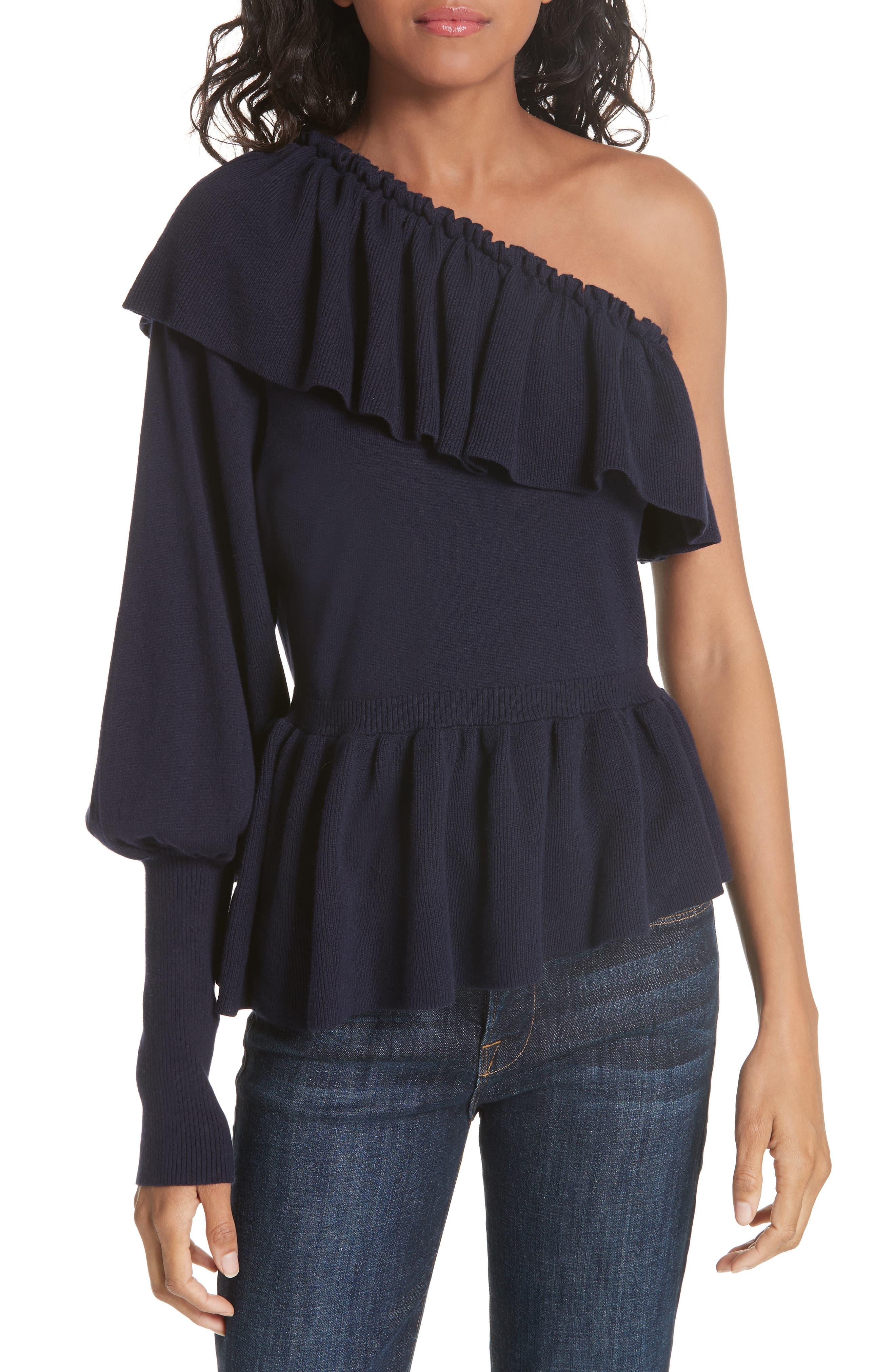 Ulla Johnson Eden Cotton & Cashmere One Shoulder Sweater