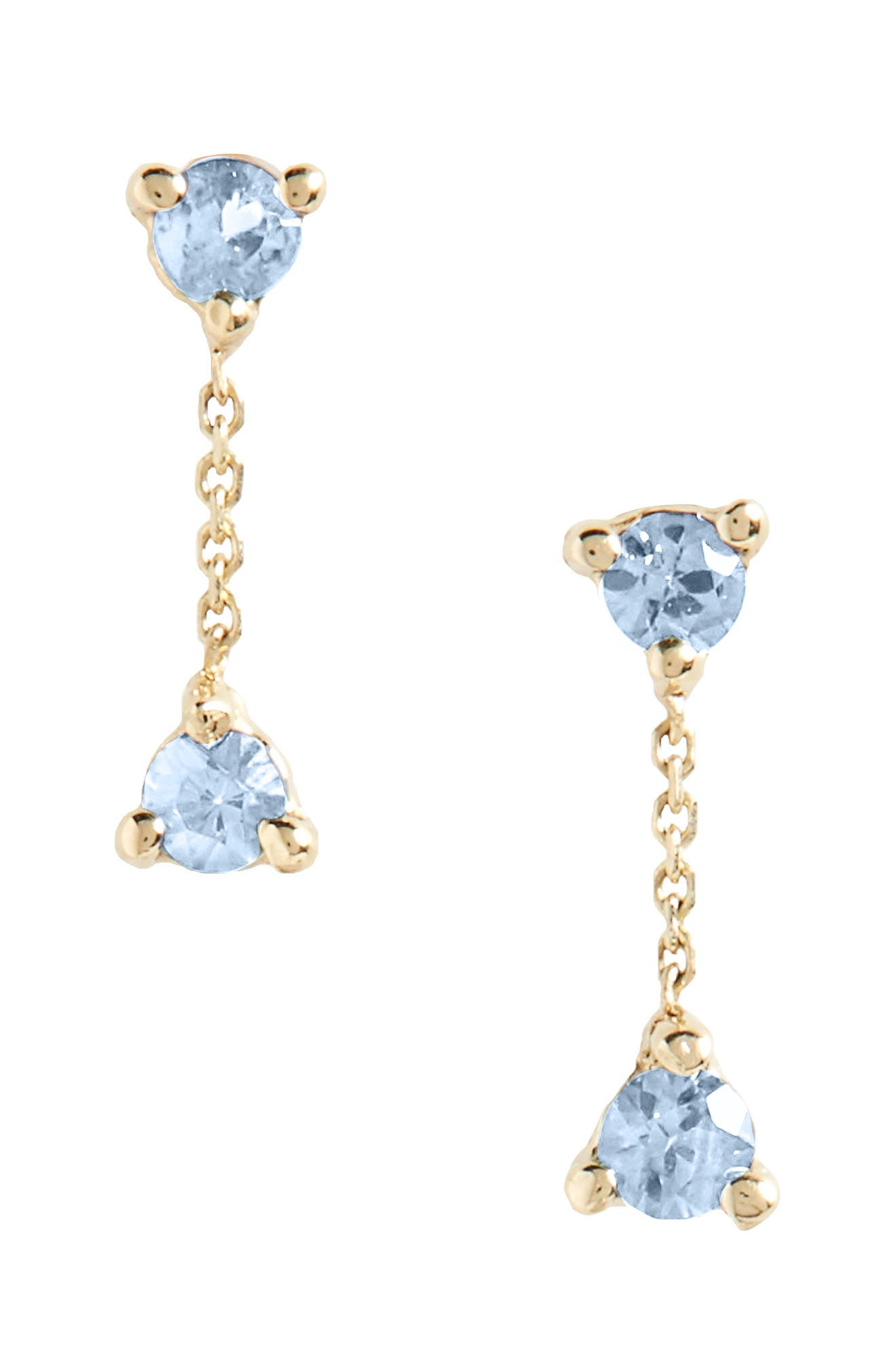 Counting Collection Small Two-Step Sapphire Drop Earrings,                             Main thumbnail 1, color,                             Sapphire/ Gold
