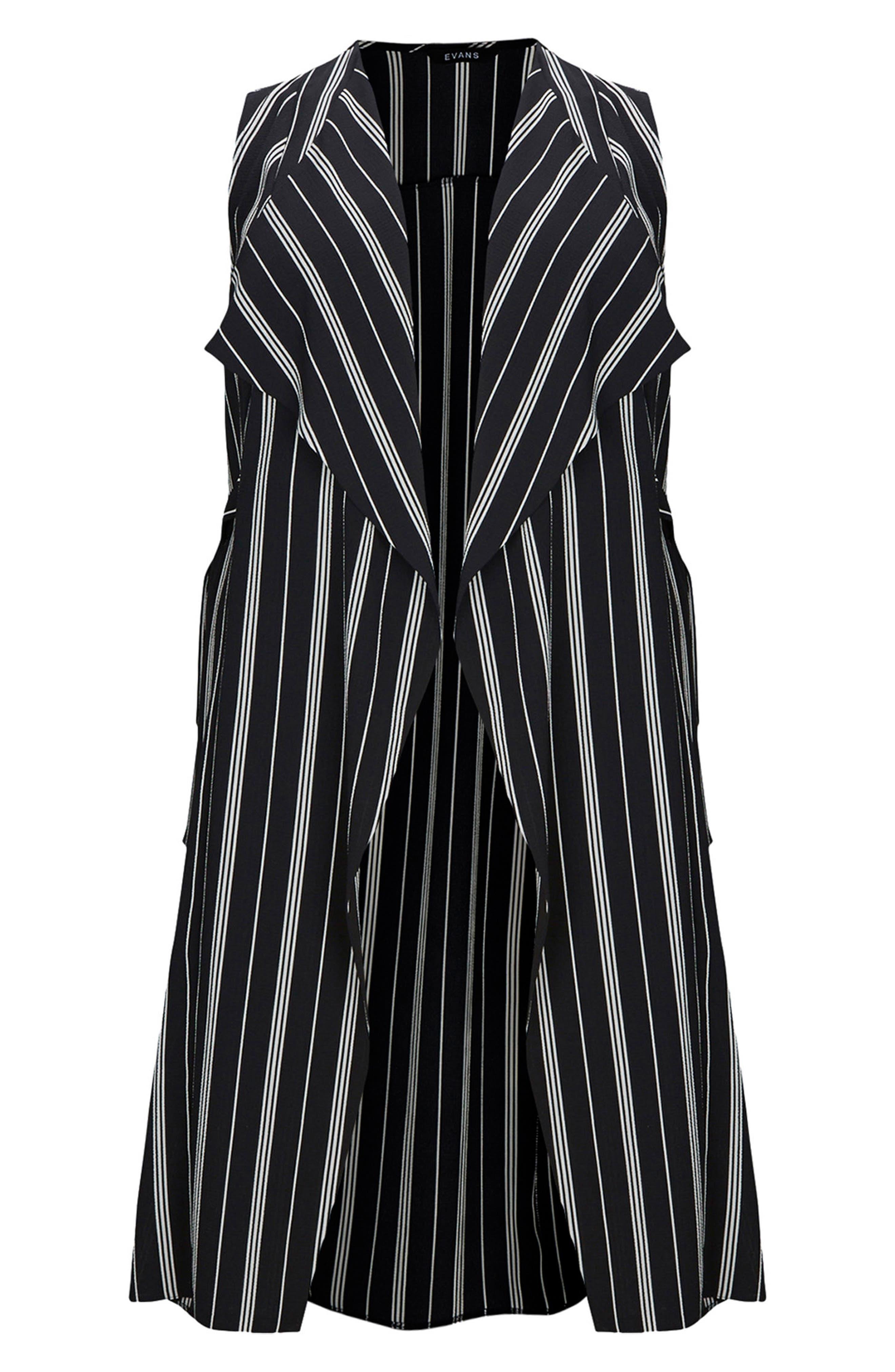 Stripe Sleeveless Jacket,                             Alternate thumbnail 4, color,                             Black/ White