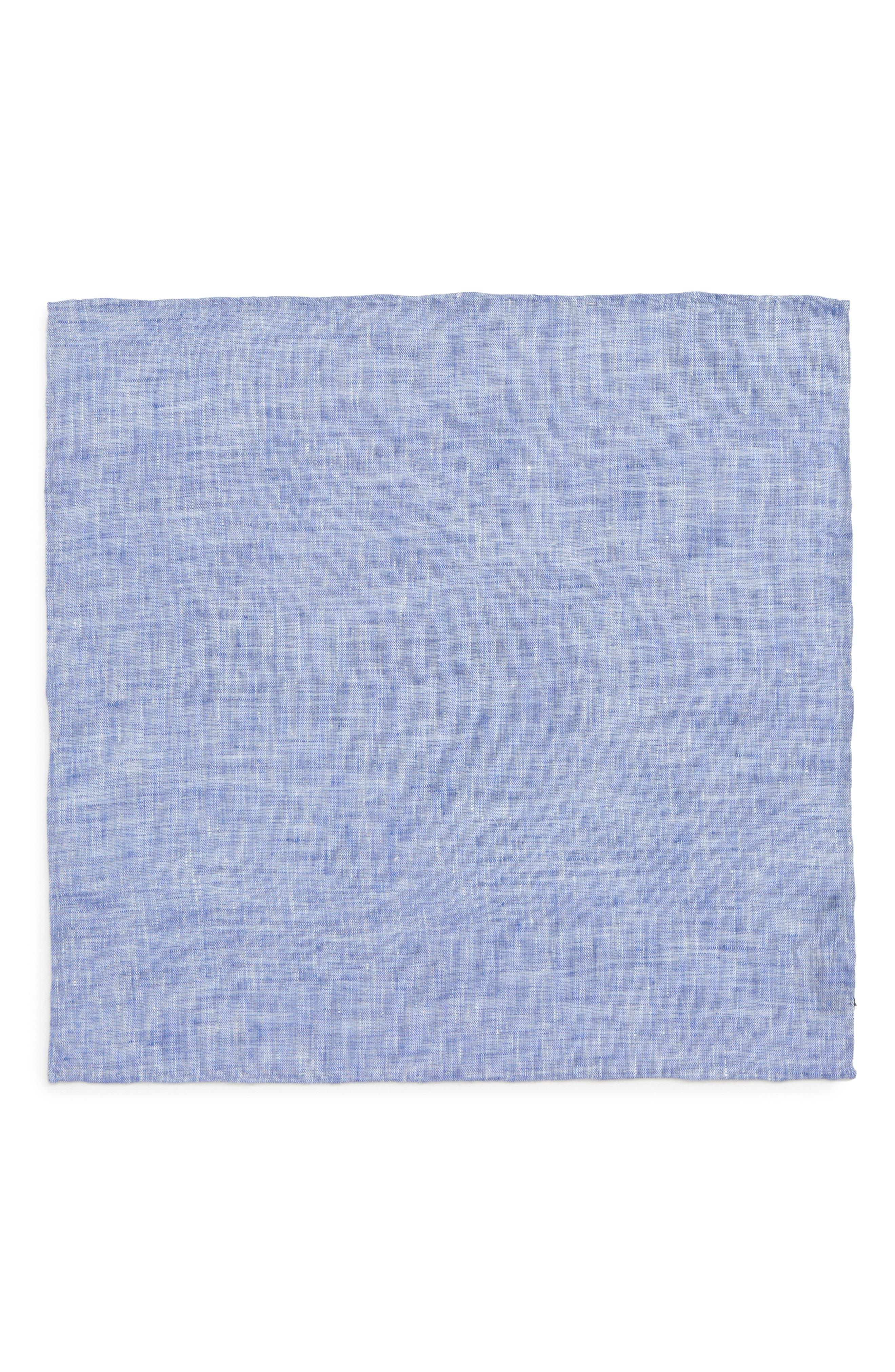 South End Linen Pocket Square,                             Alternate thumbnail 2, color,                             Blue