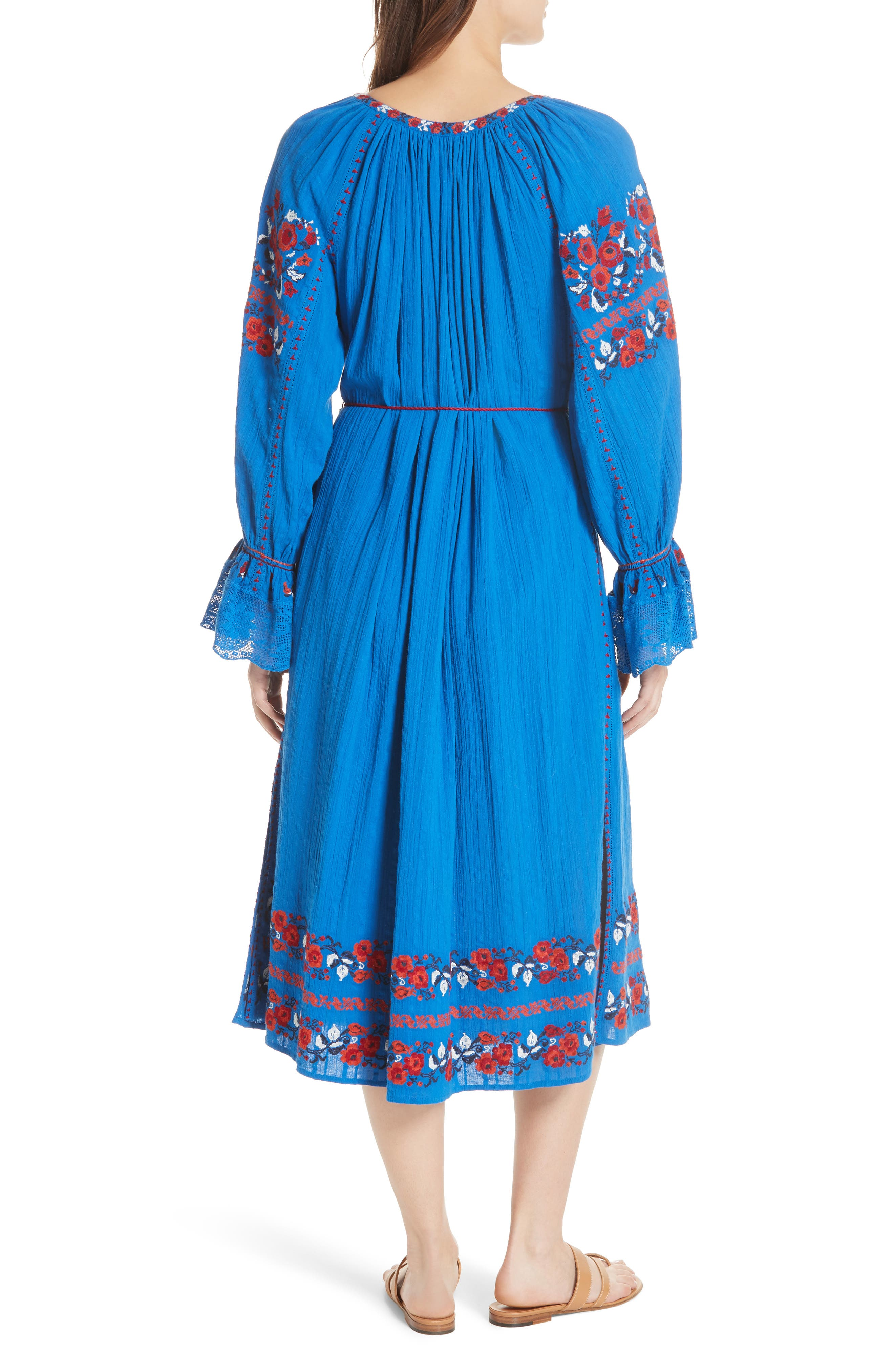 Filia Embroidered Midi Dress,                             Alternate thumbnail 2, color,                             Cobalt