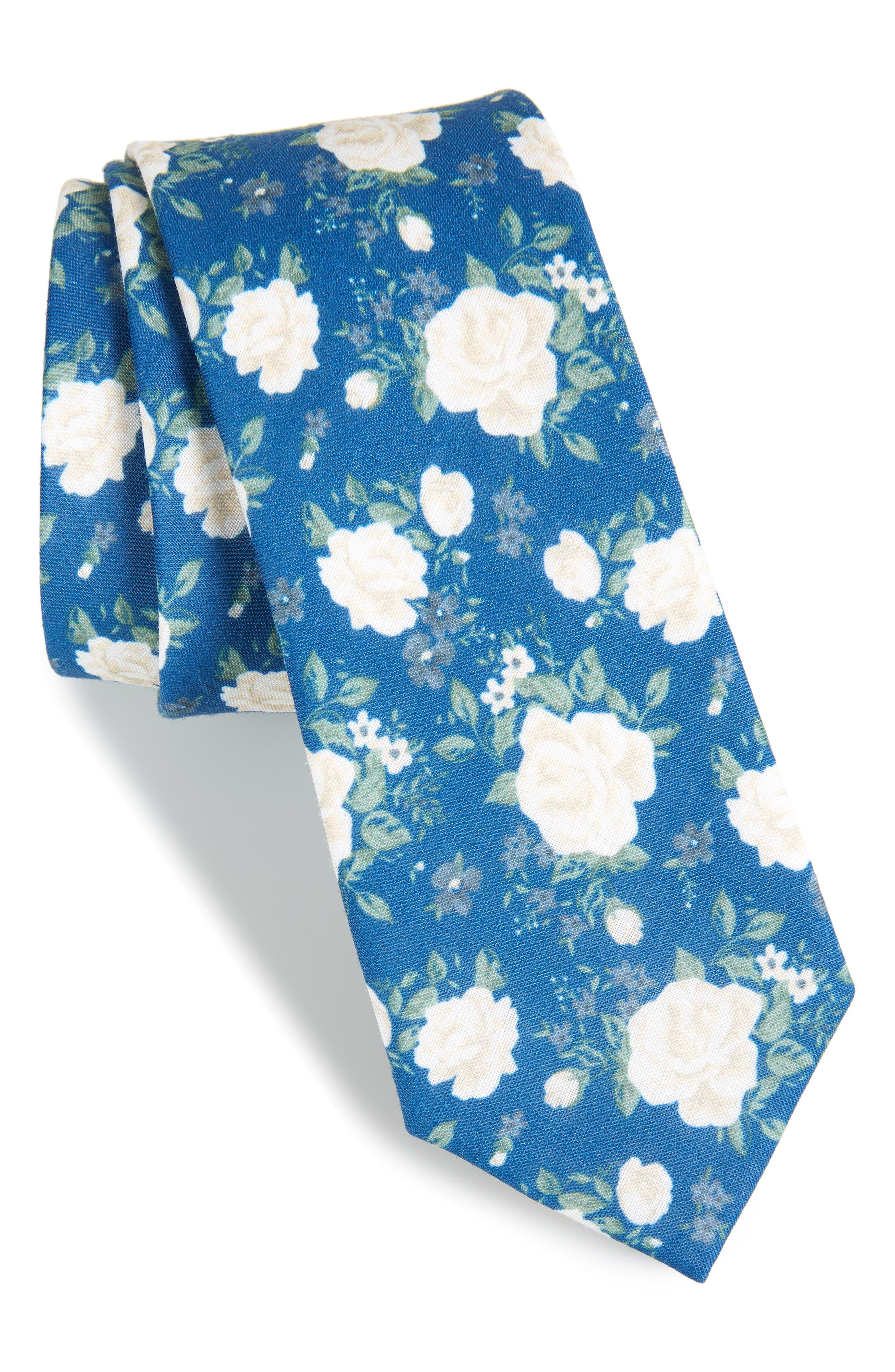 Hodgkiss Flowers Linen Tie,                         Main,                         color, Royal Blue