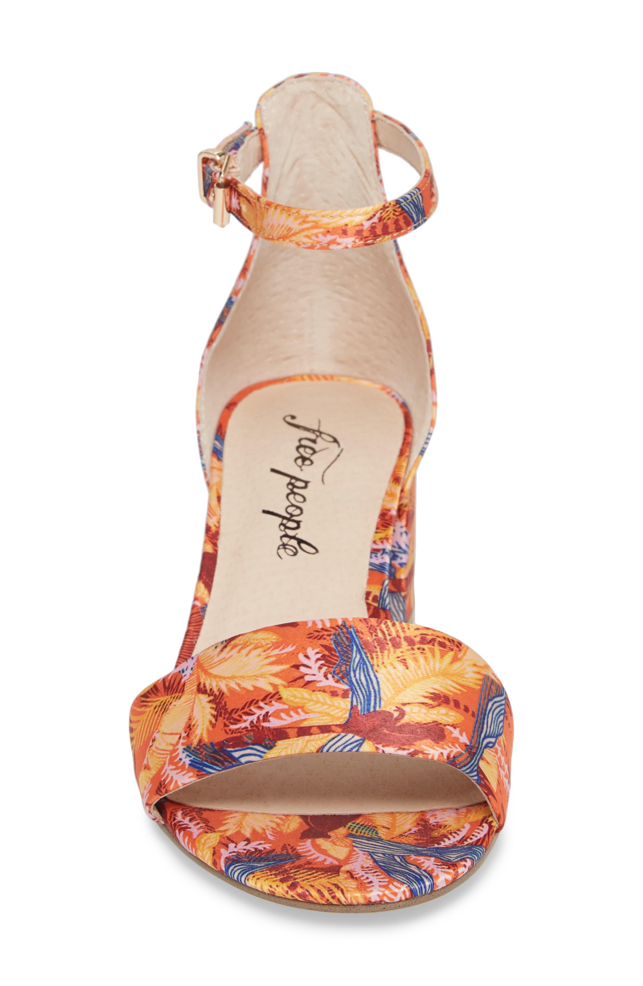 Marigold Block Heel Sandal,                             Alternate thumbnail 4, color,                             Orange Combo