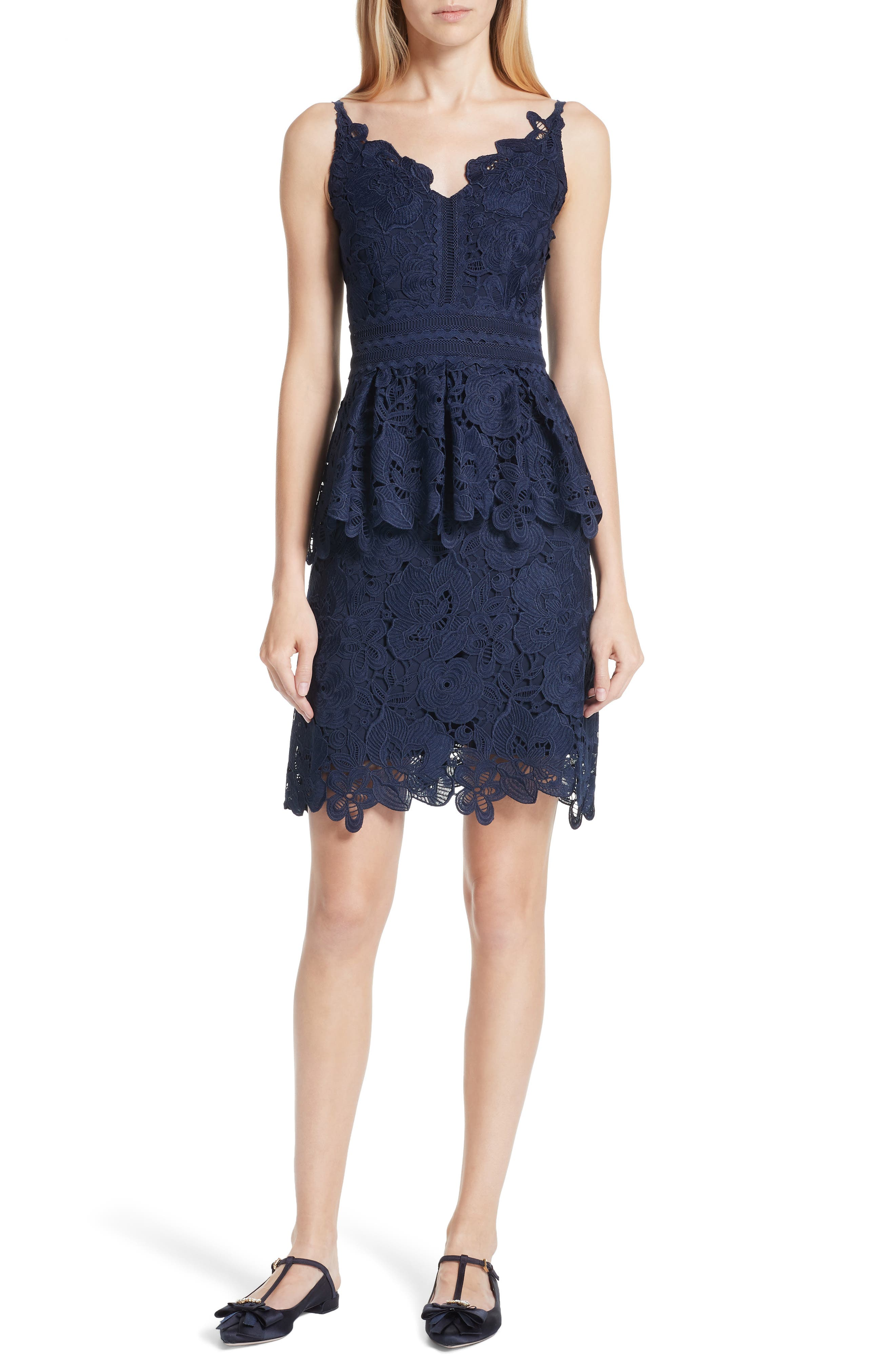 Lace Peplum Dress,                         Main,                         color, Navy