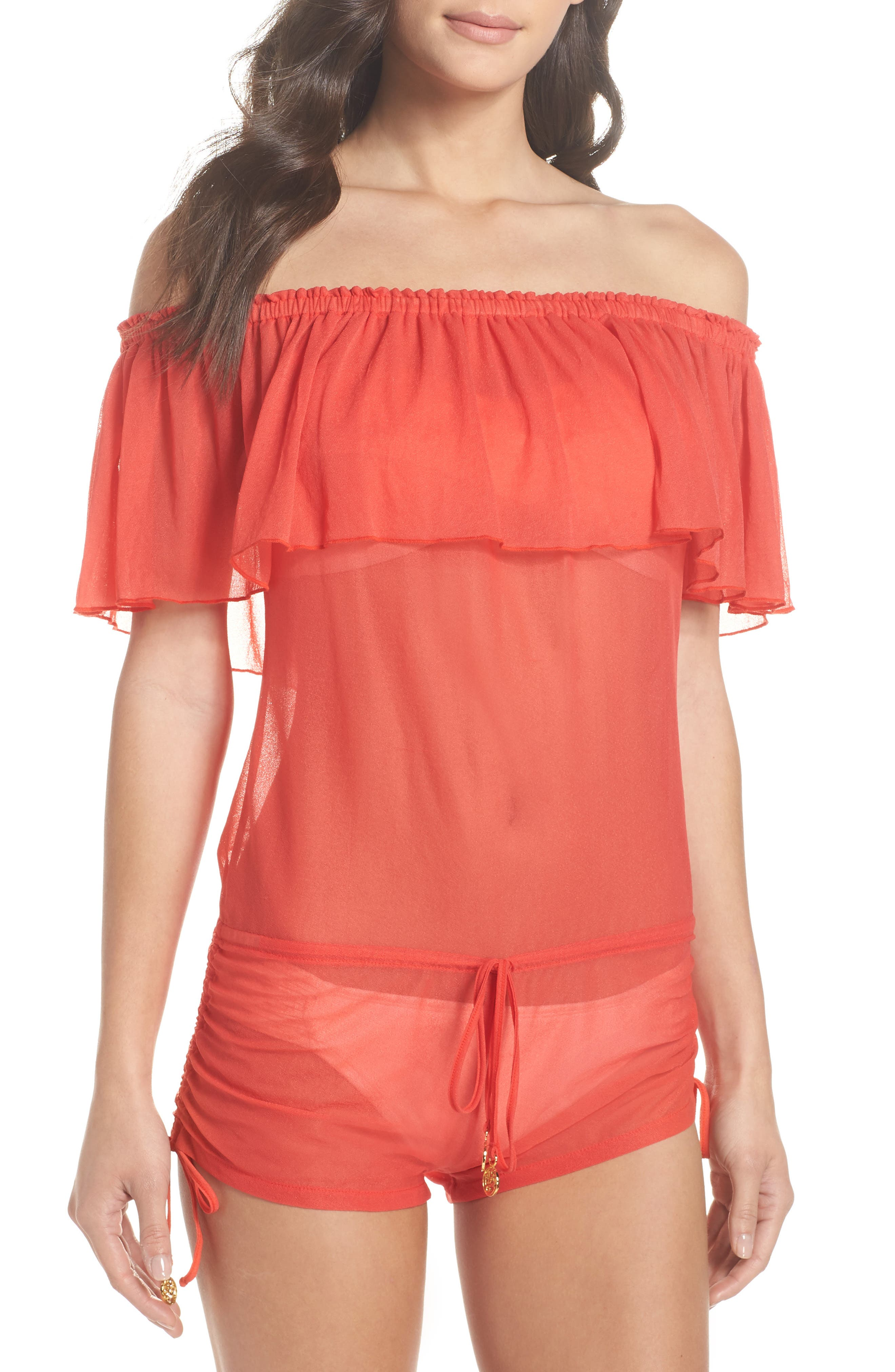 LULI FAMA DRIFTER OFF THE SHOULDER COVER-UP ROMPER