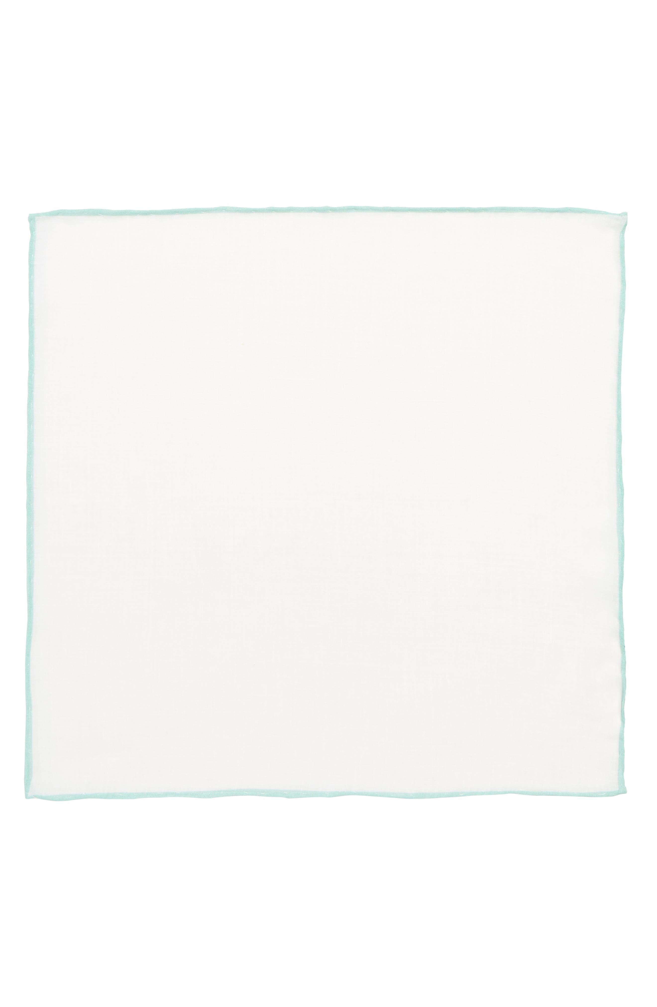 Linen Pocket Square,                             Alternate thumbnail 2, color,                             White/ Spearmint