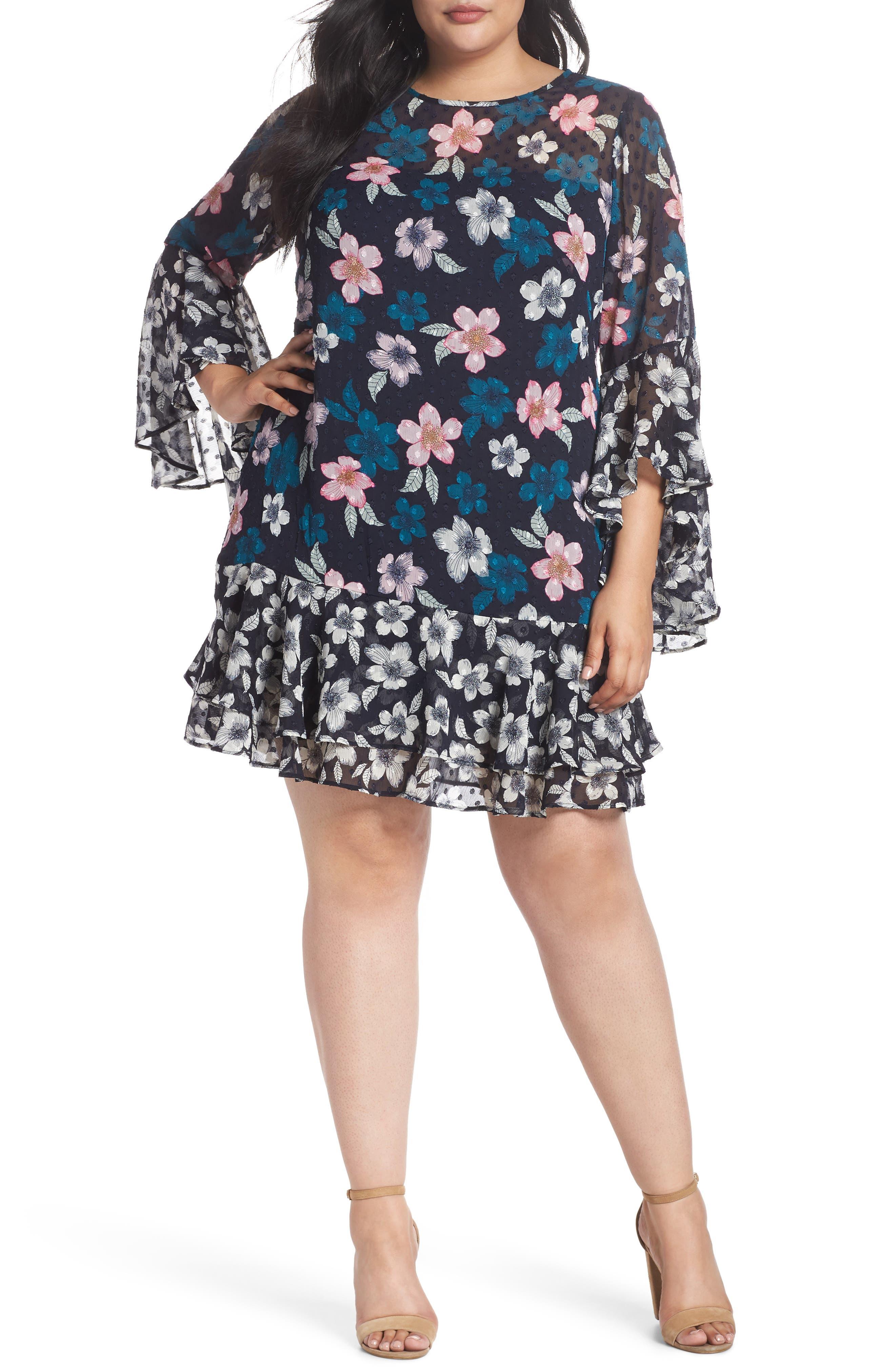 FLOUNCE BELL SLEEVE FLORAL FIL COUPE CHIFFON SHIFT DRESS