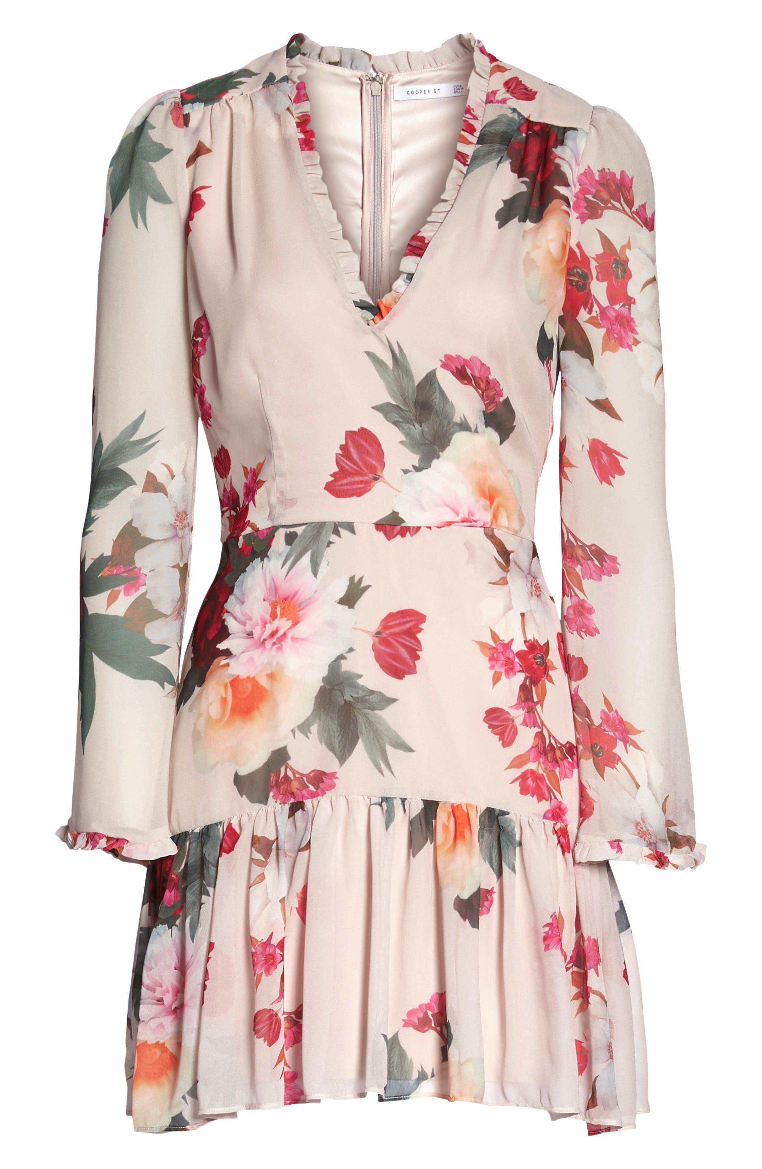 Rosa Floral Chiffon Dress,                             Alternate thumbnail 7, color,                             Print