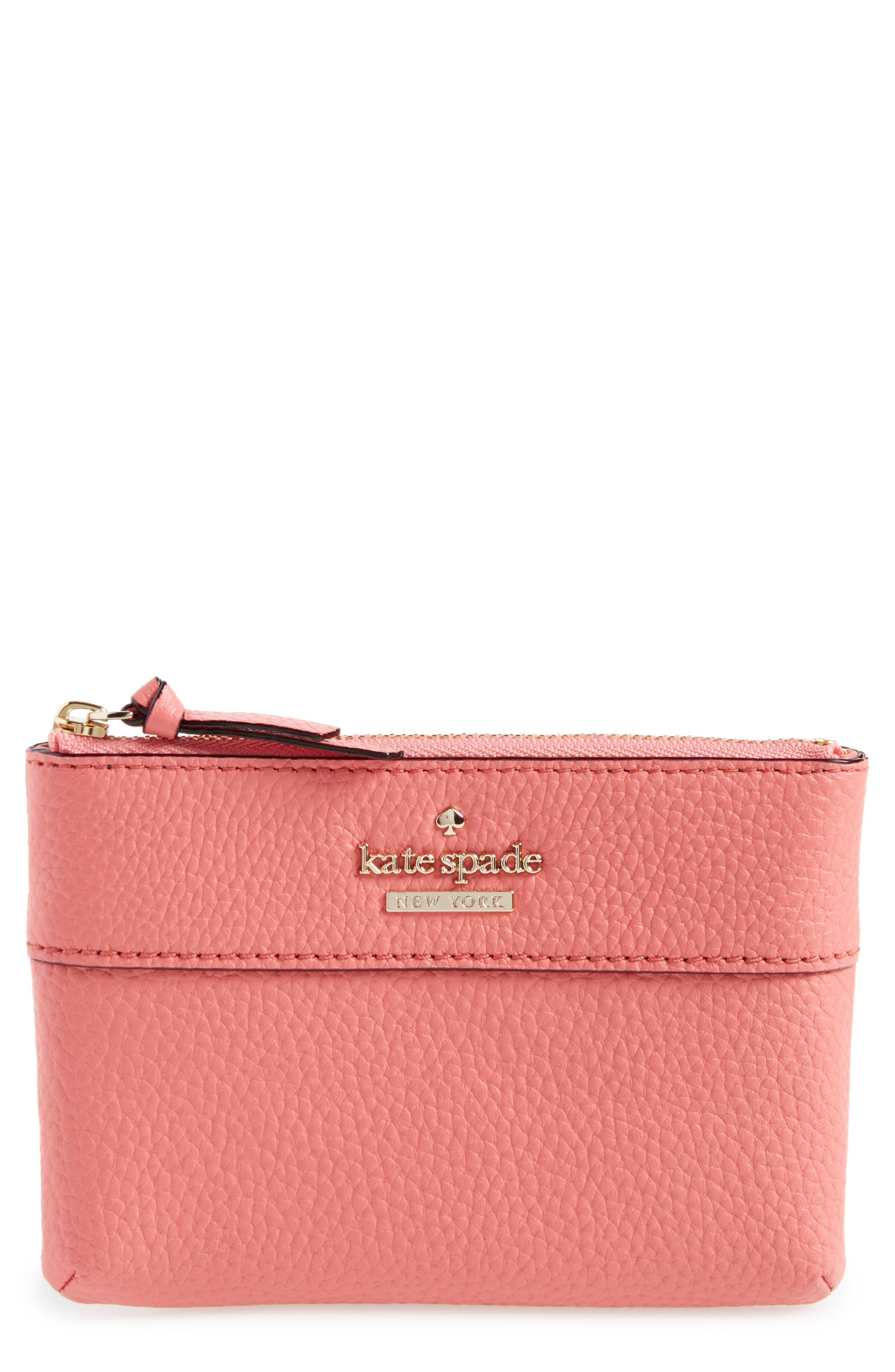 jackson street mila leather zip pouch,                             Main thumbnail 1, color,                             Coral Pebble