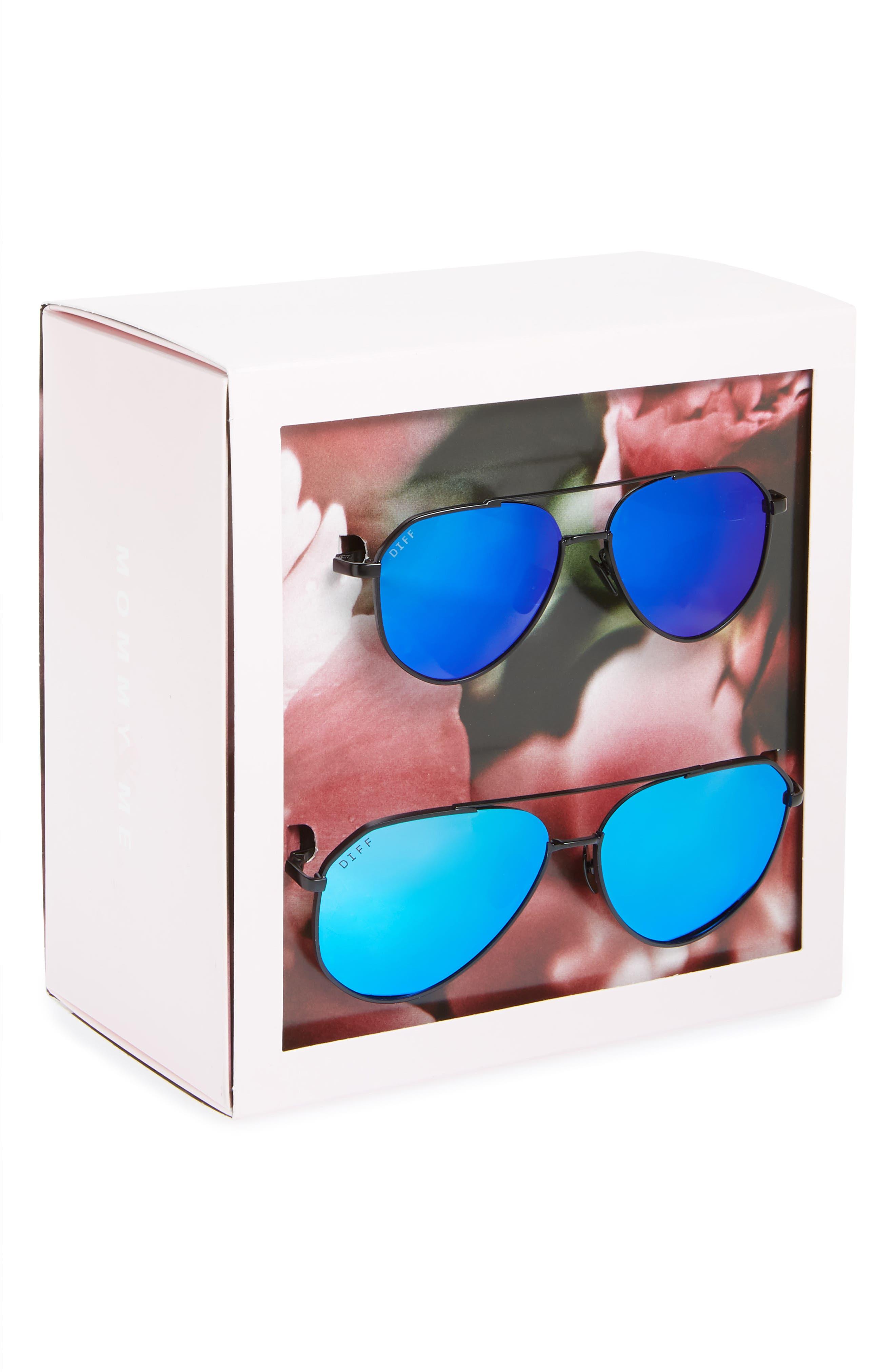 Mommy & Me Dash 2-Pack Aviator Sunglasses,                             Alternate thumbnail 3, color,                             Black/ Blue