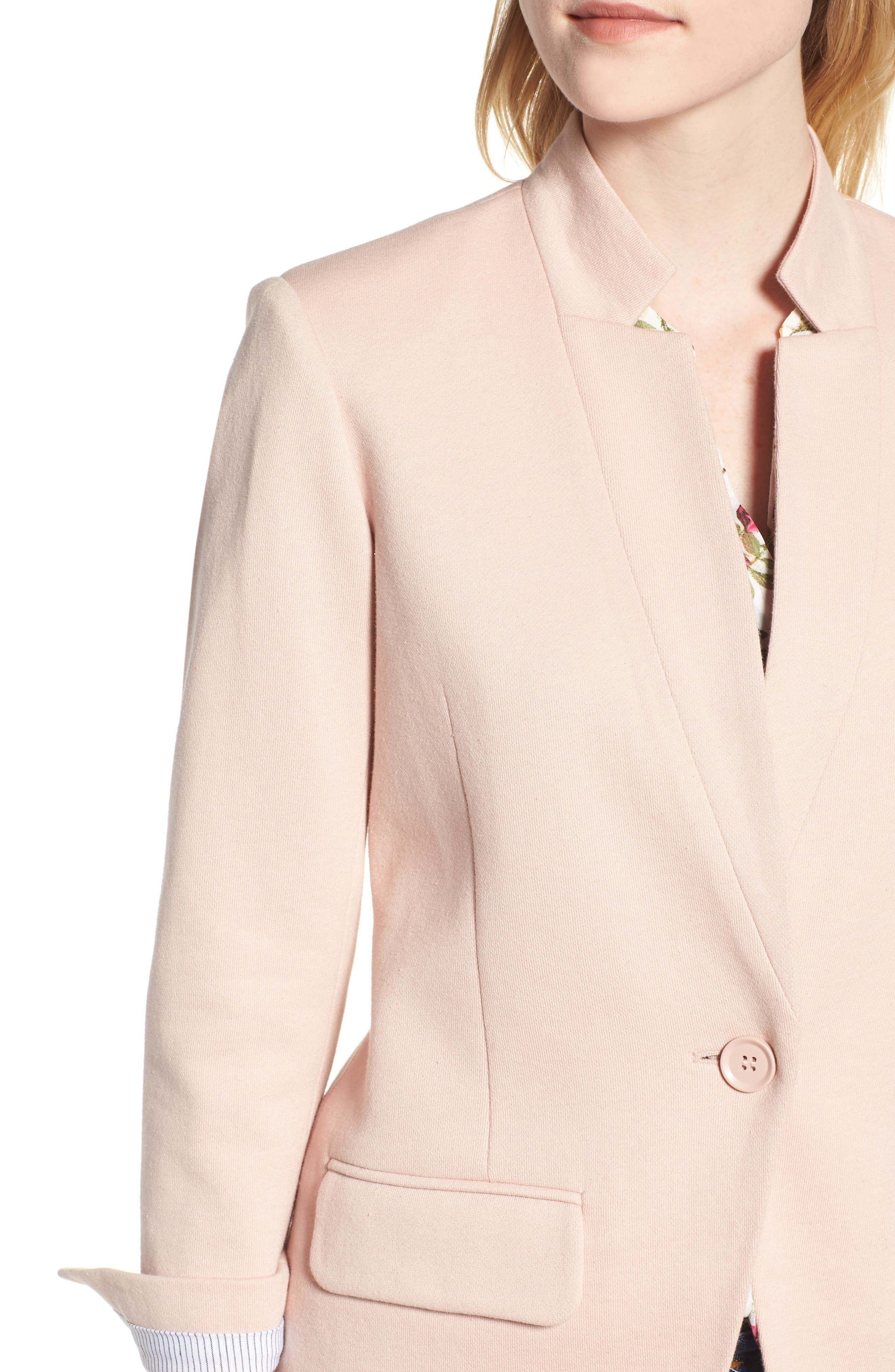 Cotton Blend Knit Blazer,                             Alternate thumbnail 4, color,                             Pink Smoke