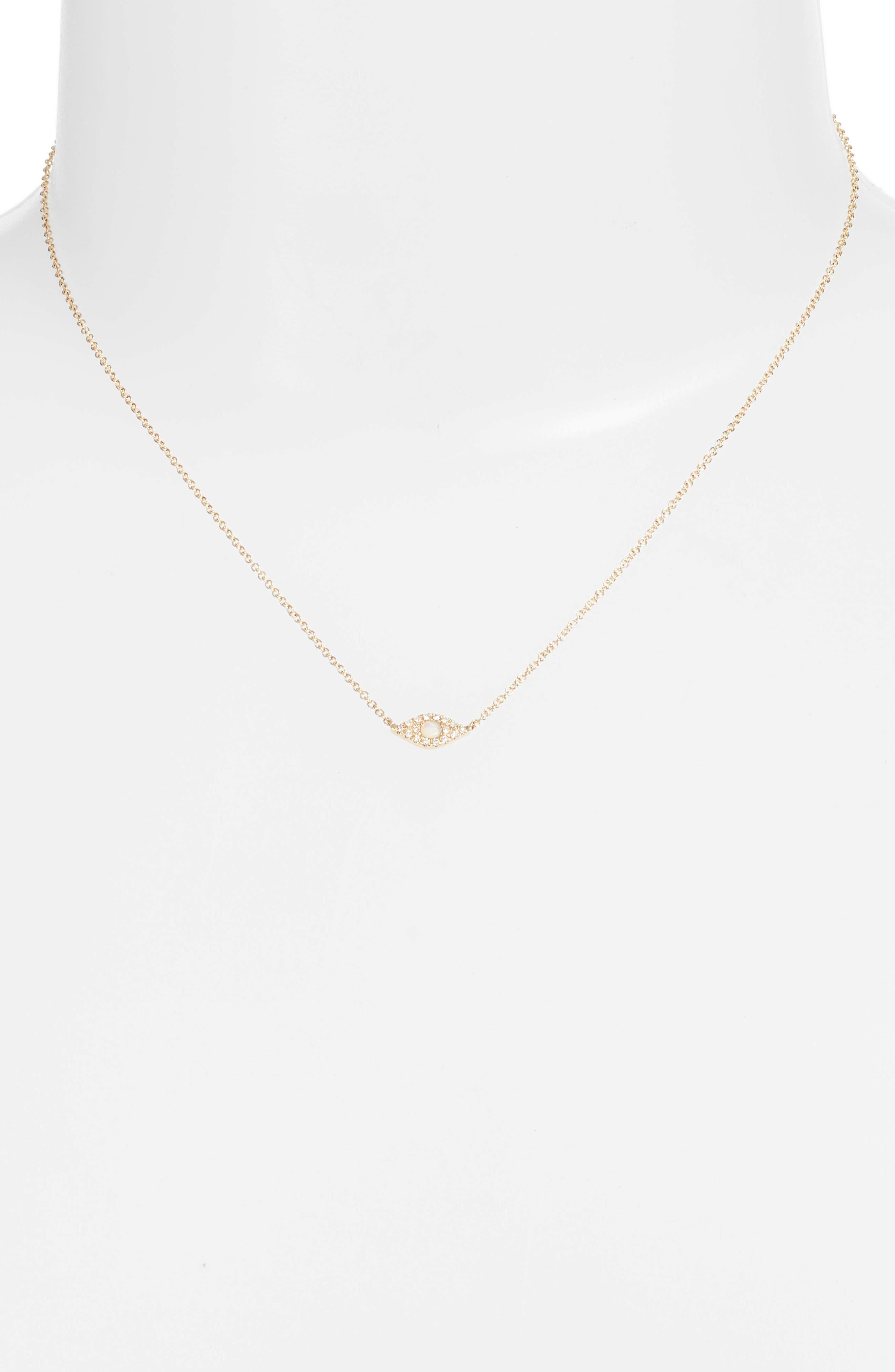 Evil Eye Diamond & Sapphire Pendant Necklace,                             Alternate thumbnail 2, color,                             Yellow Gold/ Opal