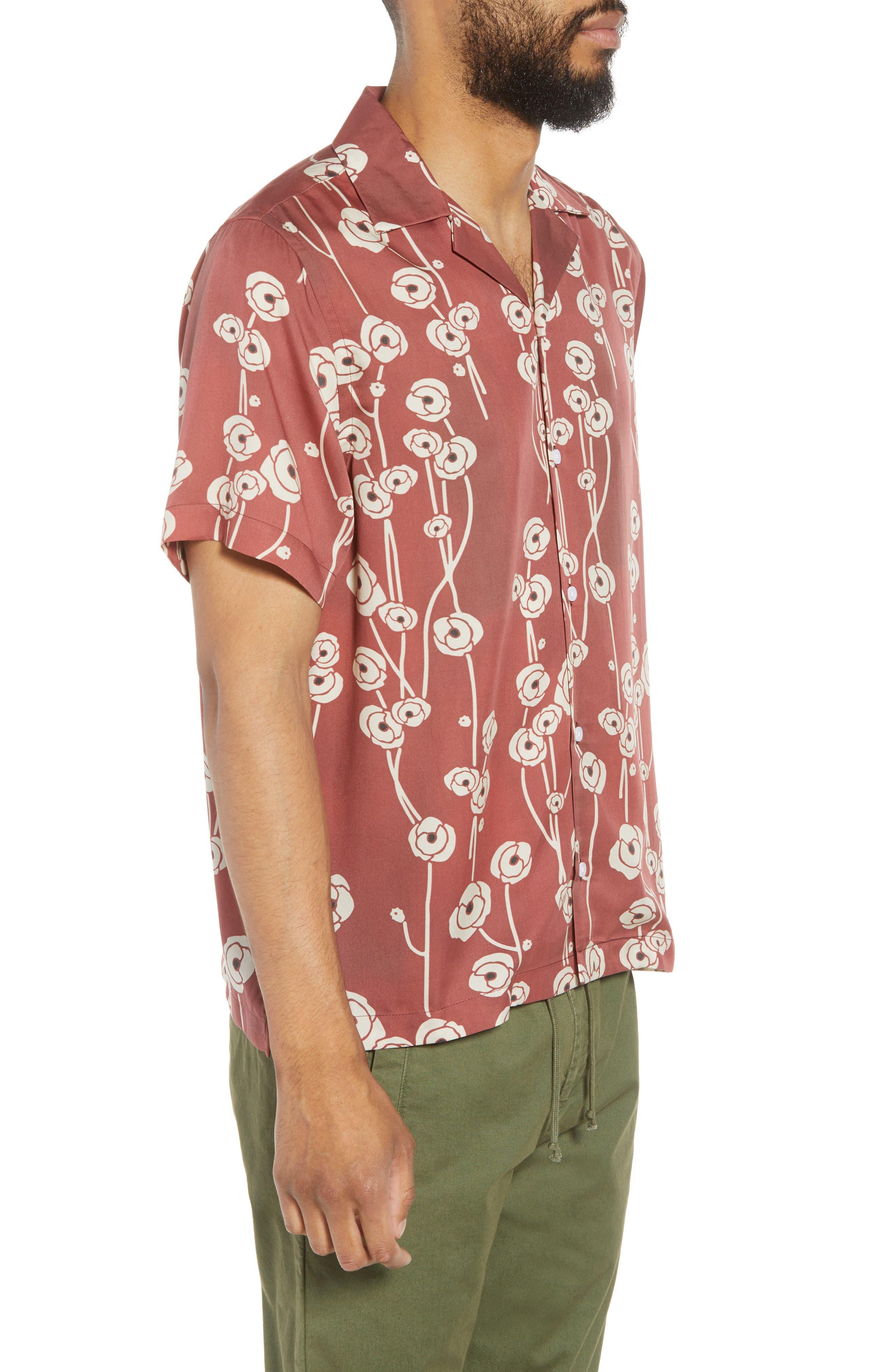 Canty Poppy Woven Shirt,                             Alternate thumbnail 5, color,                             Brick