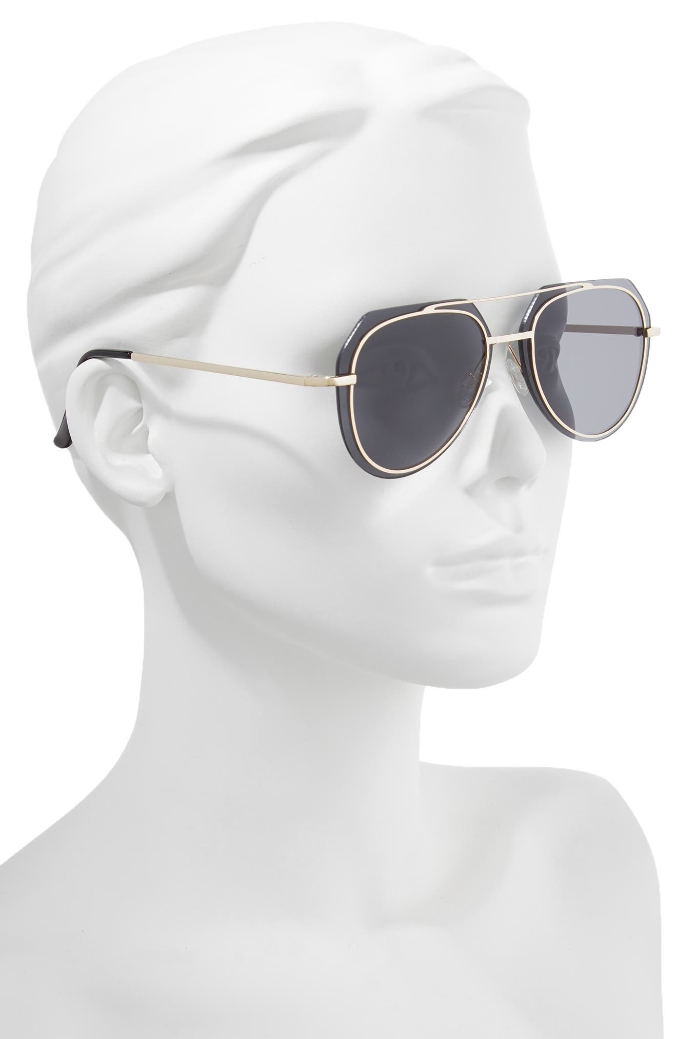 60mm Metal Trim Flat Aviator Sunglasses,                             Alternate thumbnail 2, color,                             Gold/ Black