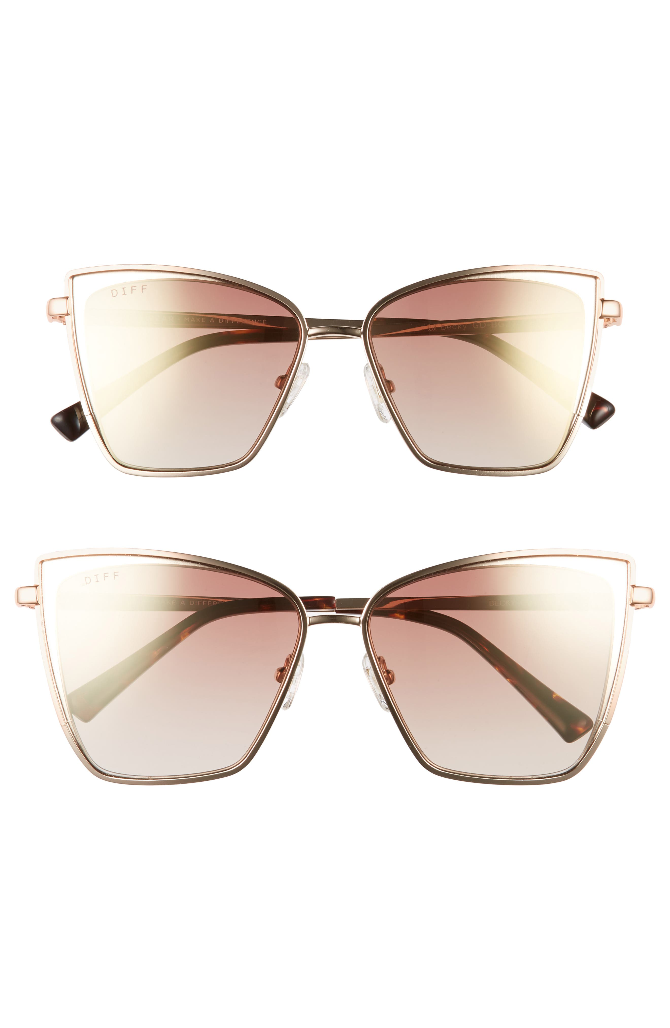 Mommy & Me Becky 2-Pack Cat Eye Sunglasses,                             Main thumbnail 1, color,                             Gold/ Brown
