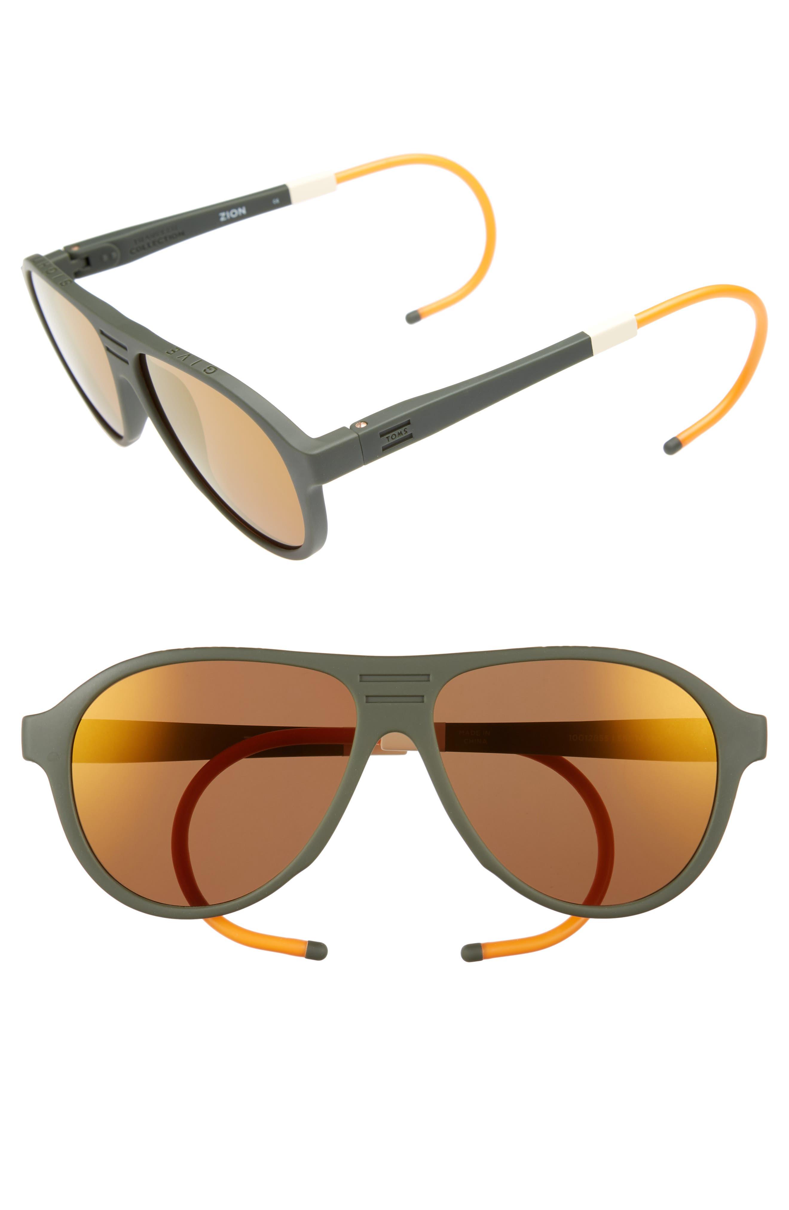 Traveler Zion 57mm Aviator Sunglasses,                         Main,                         color, Matte Rifle Green/ Gold Mirror