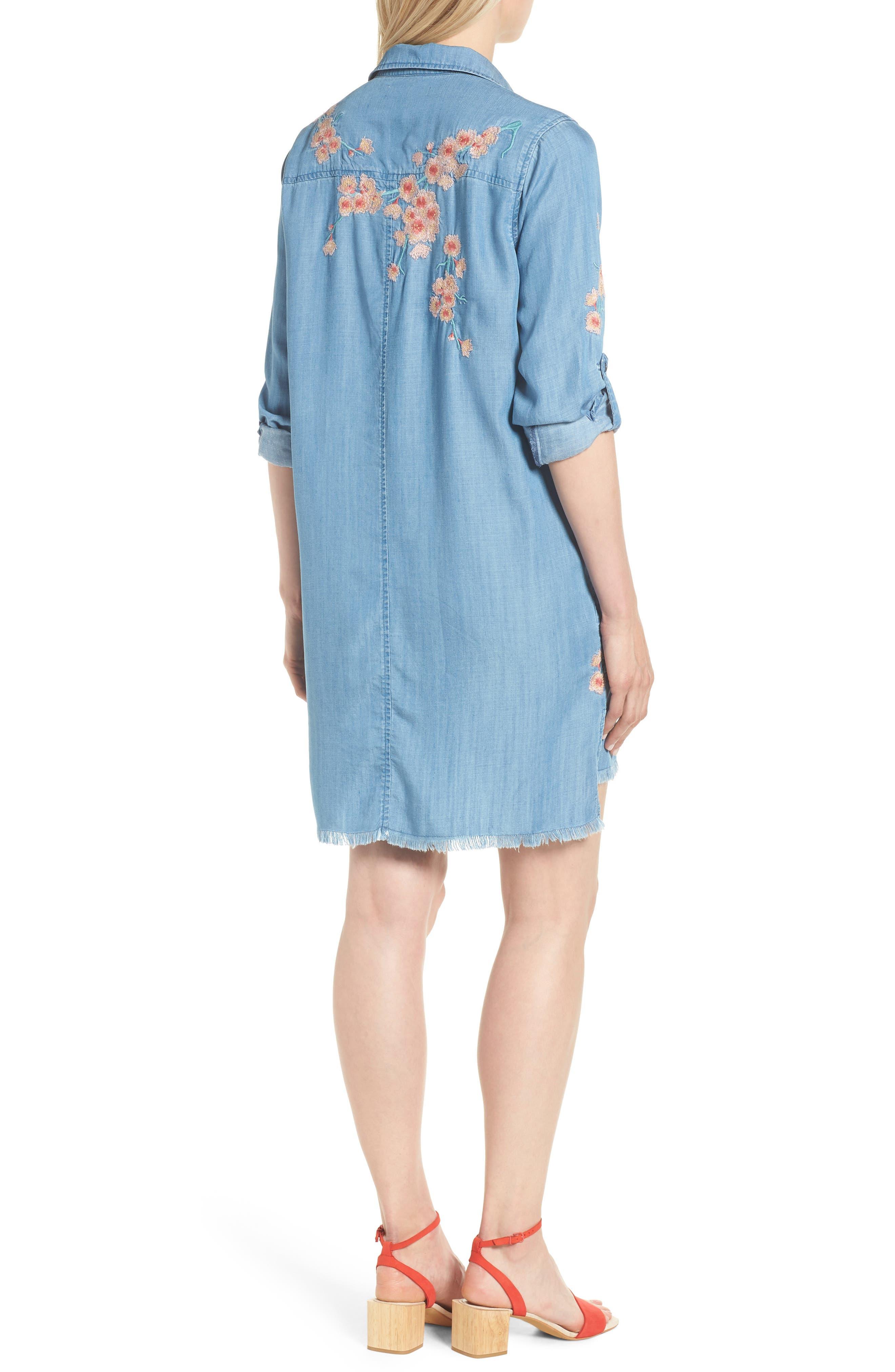 Cherry Blossom Shirtdress,                             Alternate thumbnail 2, color,                             Blue Emb
