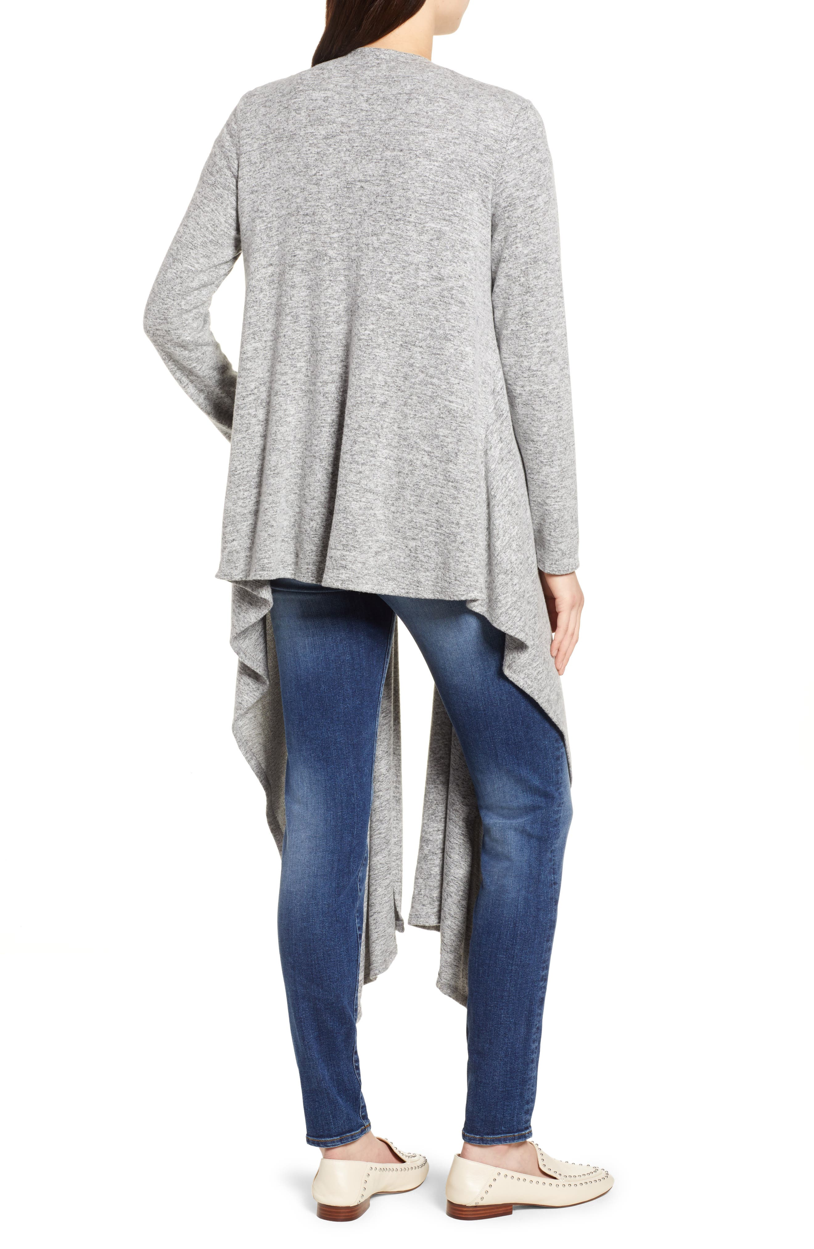 Convertible Cozy Fleece Wrap Cardigan,                             Alternate thumbnail 2, color,                             Heather Grey
