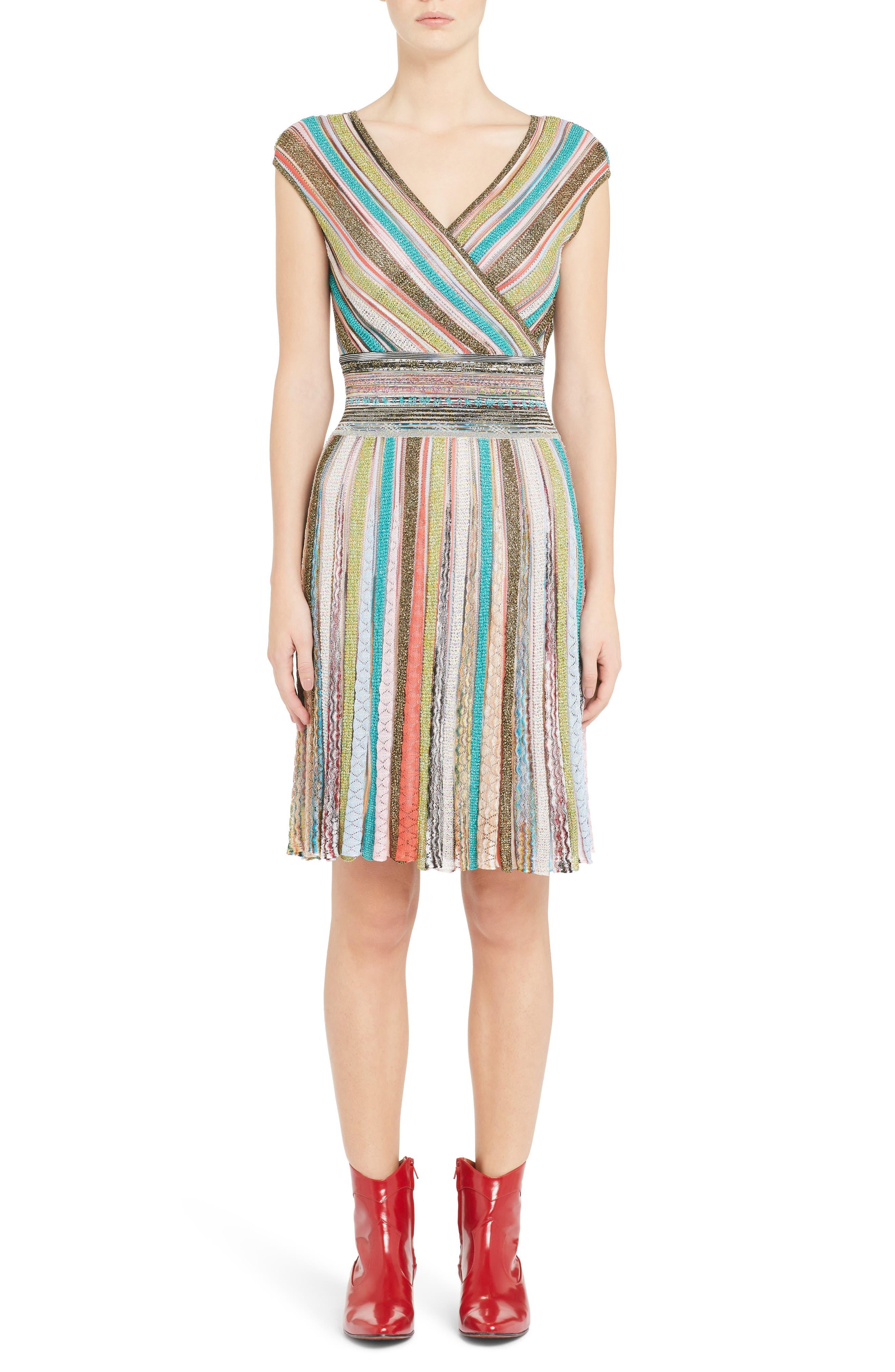 Metallic Stripe Dress,                             Main thumbnail 1, color,                             Multi