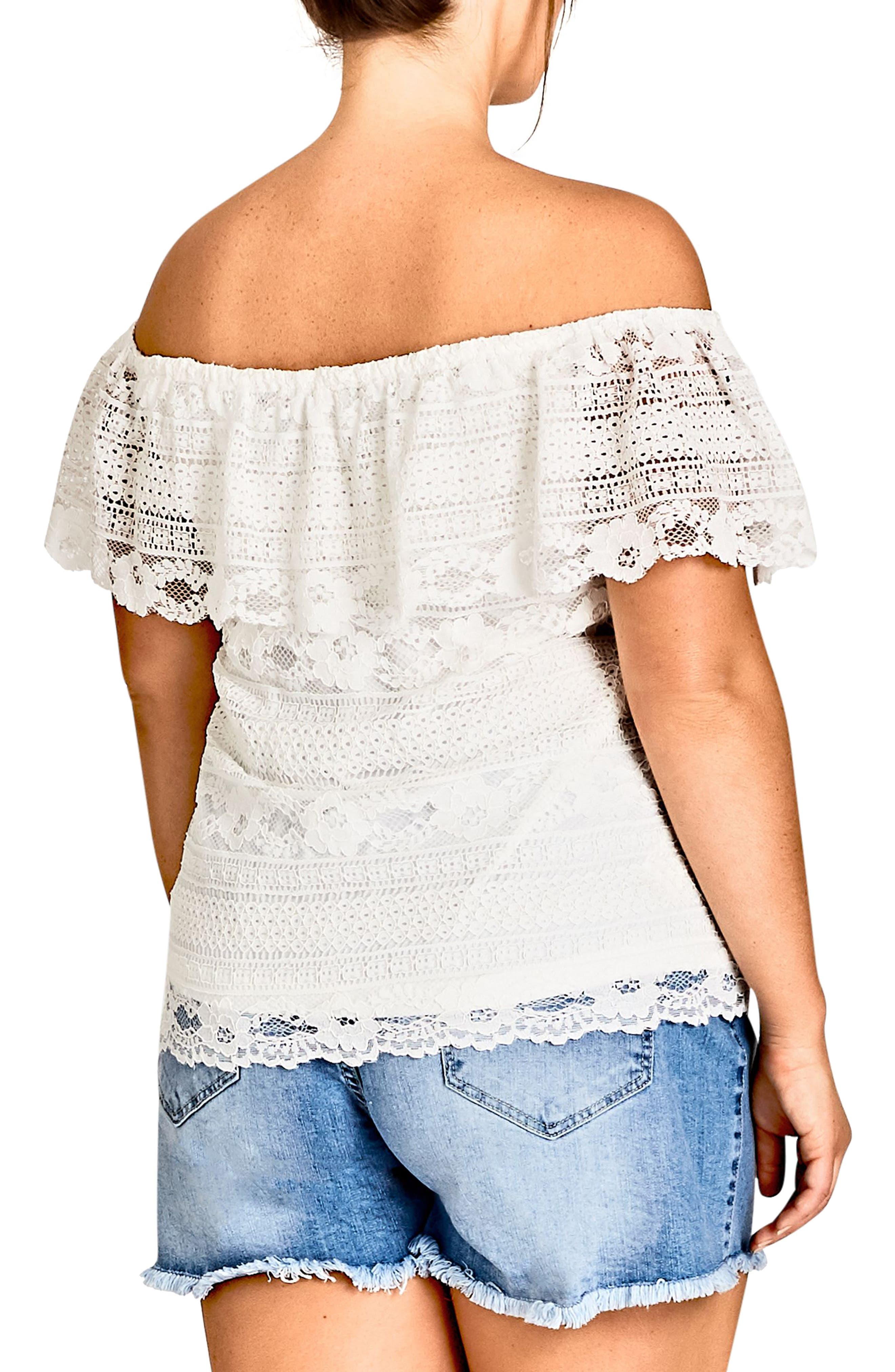 Summer Frill Lace Off the Shoulder Top,                             Alternate thumbnail 2, color,                             Ivory