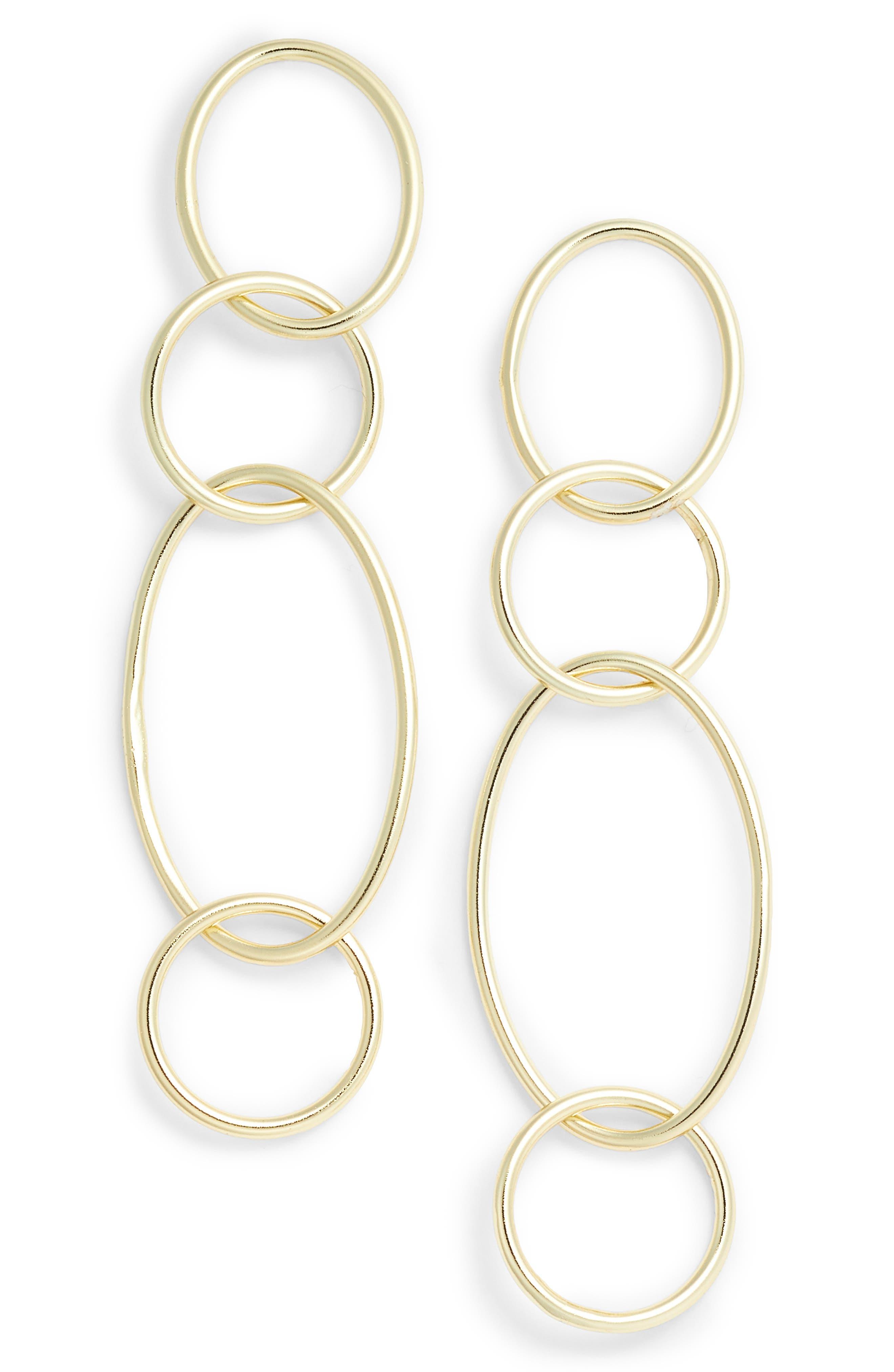 Drop Link Earrings,                         Main,                         color, Gold