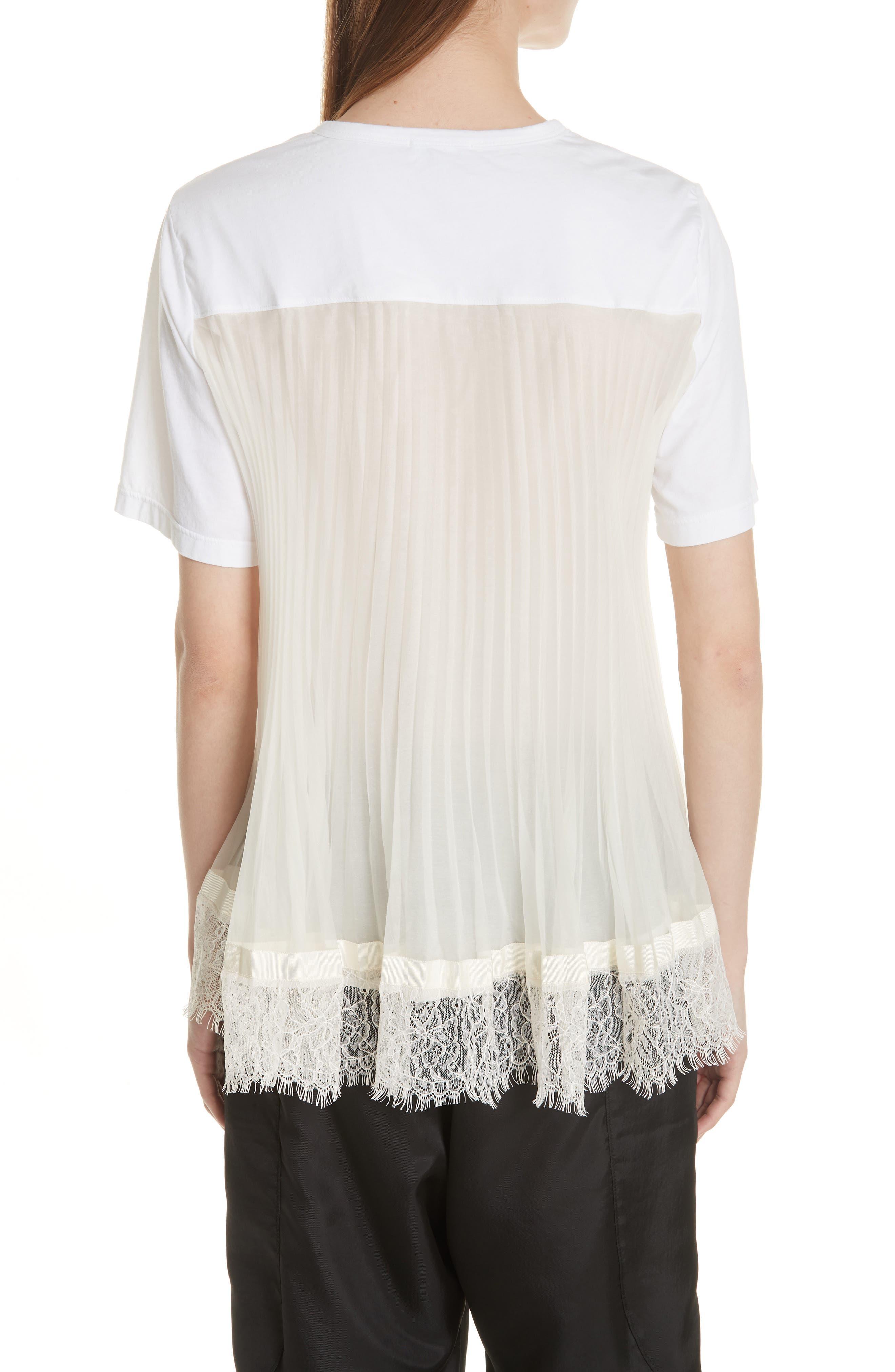 Lace Trim Pleat Back Top,                             Alternate thumbnail 2, color,                             White