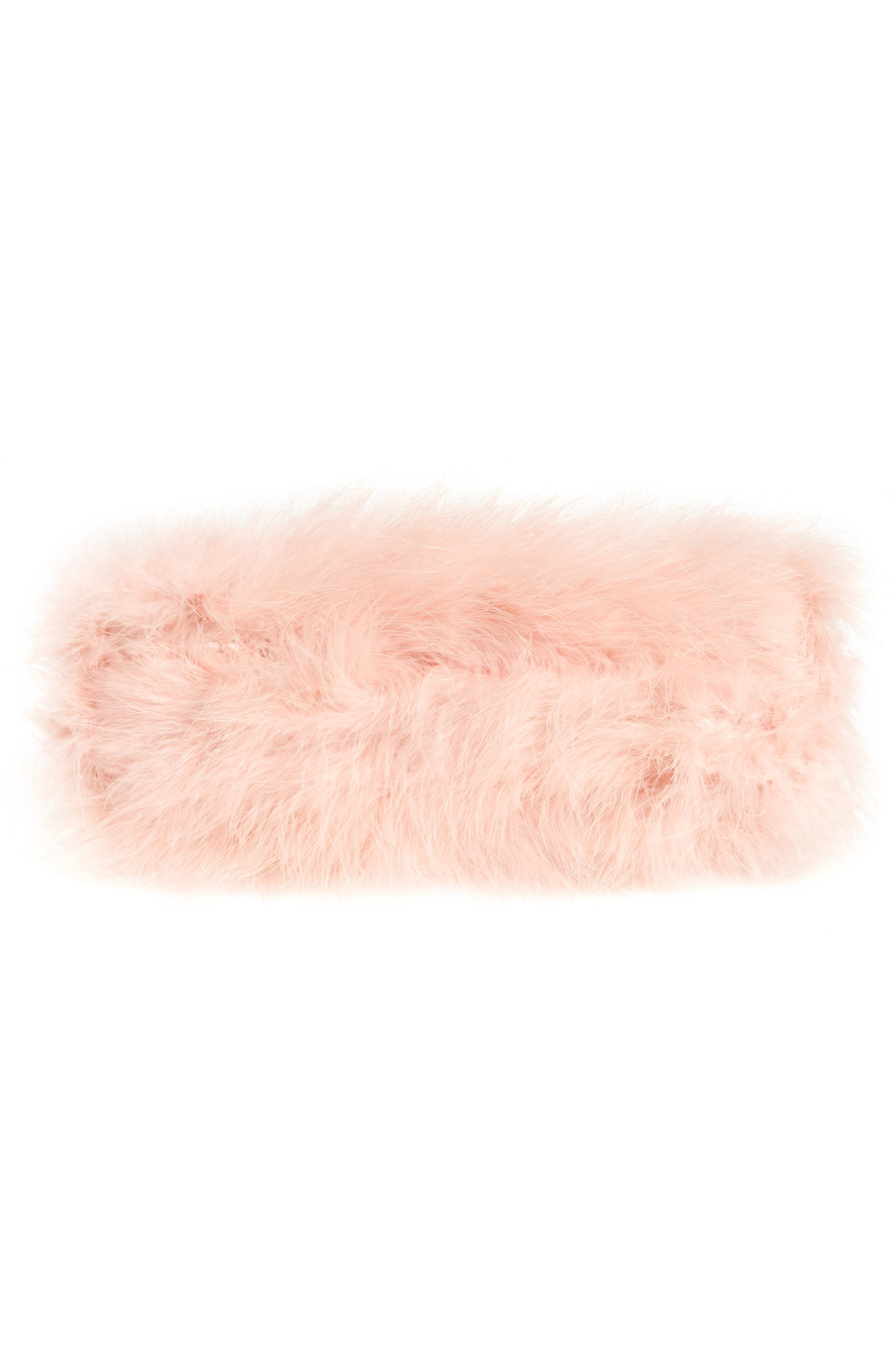 Loop Bow Feather Evening Bag,                             Alternate thumbnail 5, color,                             Light Pink