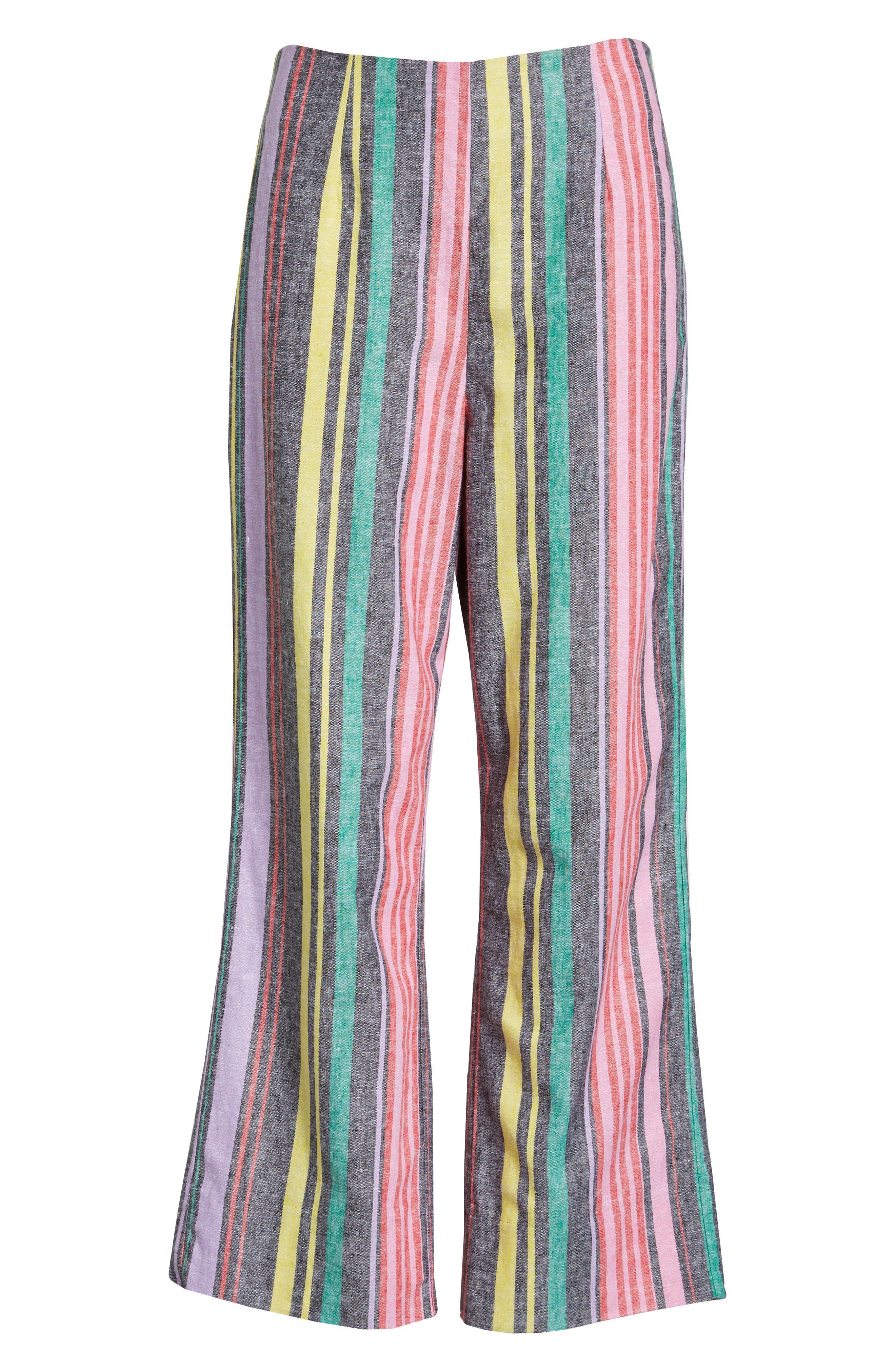 Karina High Waist Crop Flare Pant,                             Alternate thumbnail 8, color,                             Rainbow Stripe