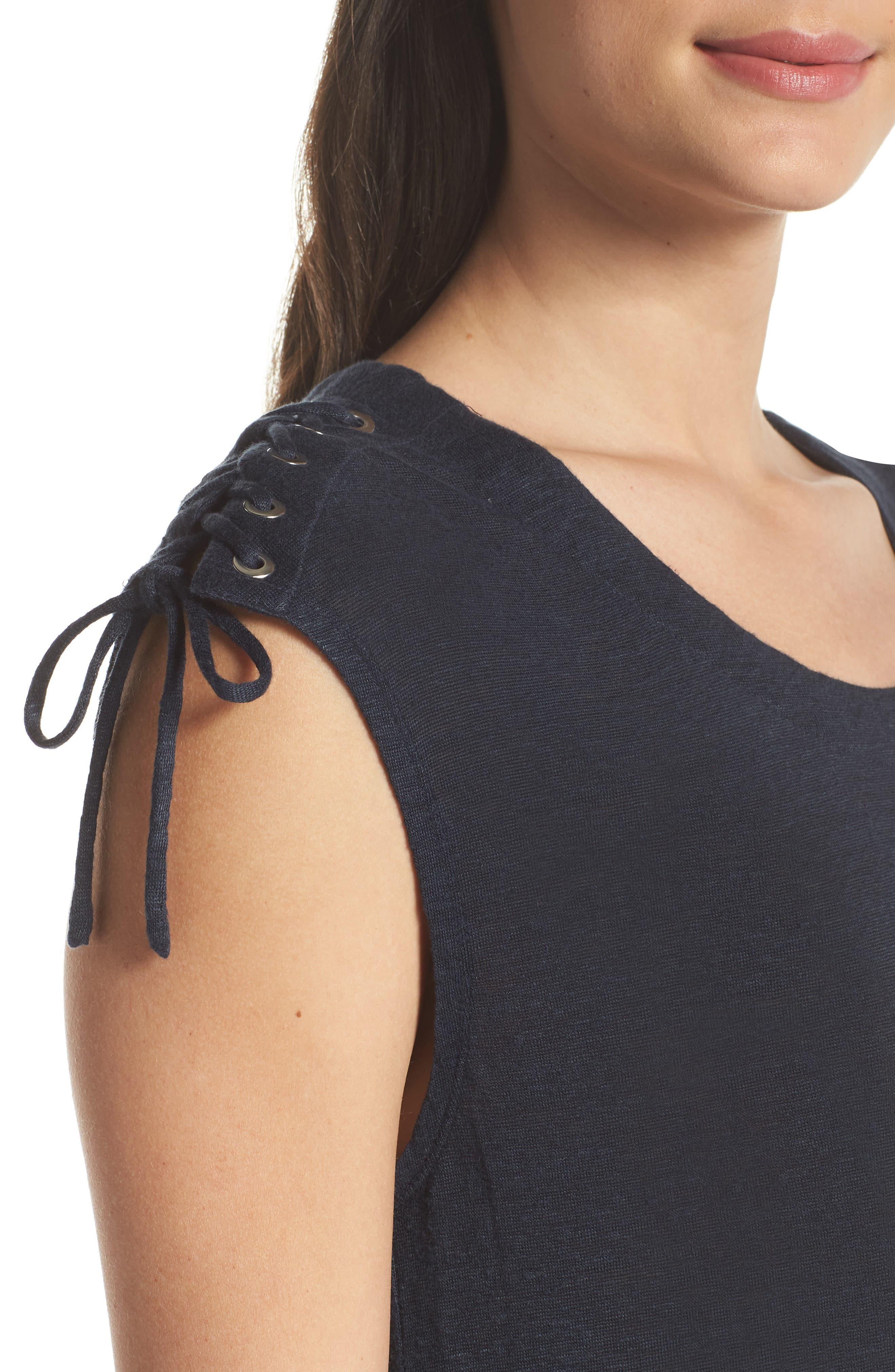Lace-up Shoulder Jersey Midi Dress,                             Alternate thumbnail 4, color,                             Navy