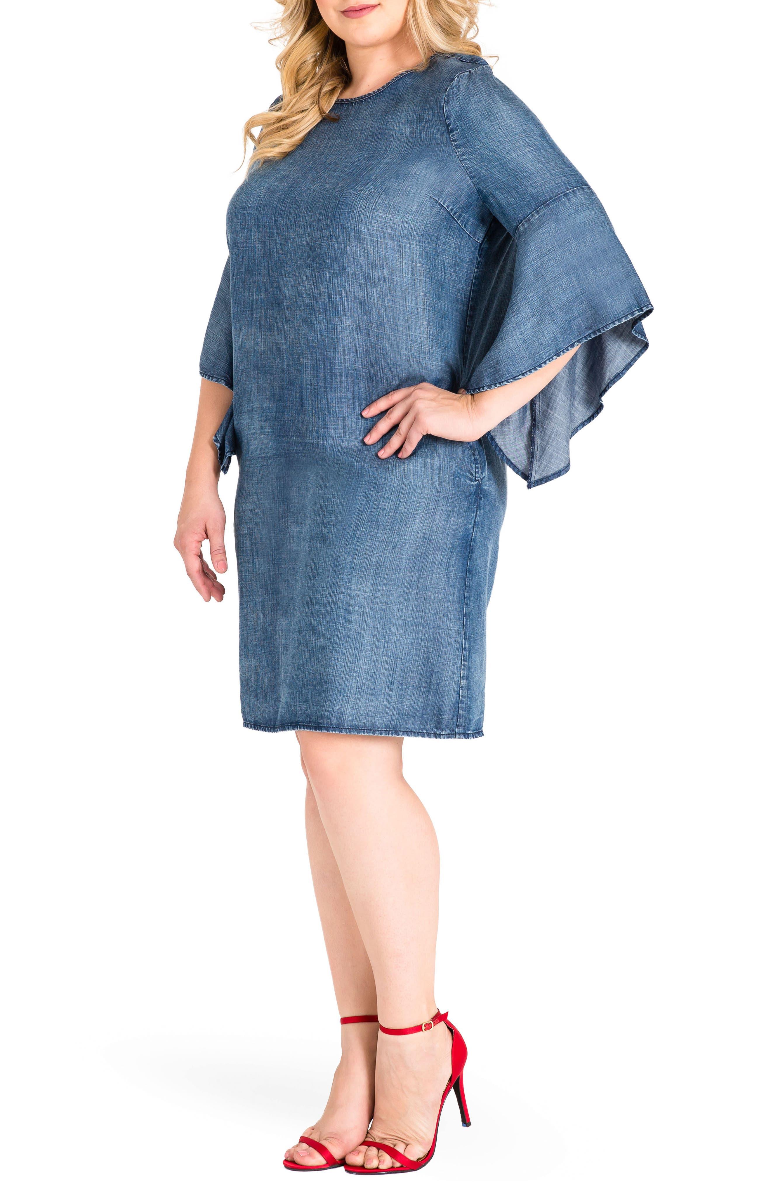 Sharon Ruffle Sleeve Mini Dress,                             Alternate thumbnail 3, color,                             Med Blue