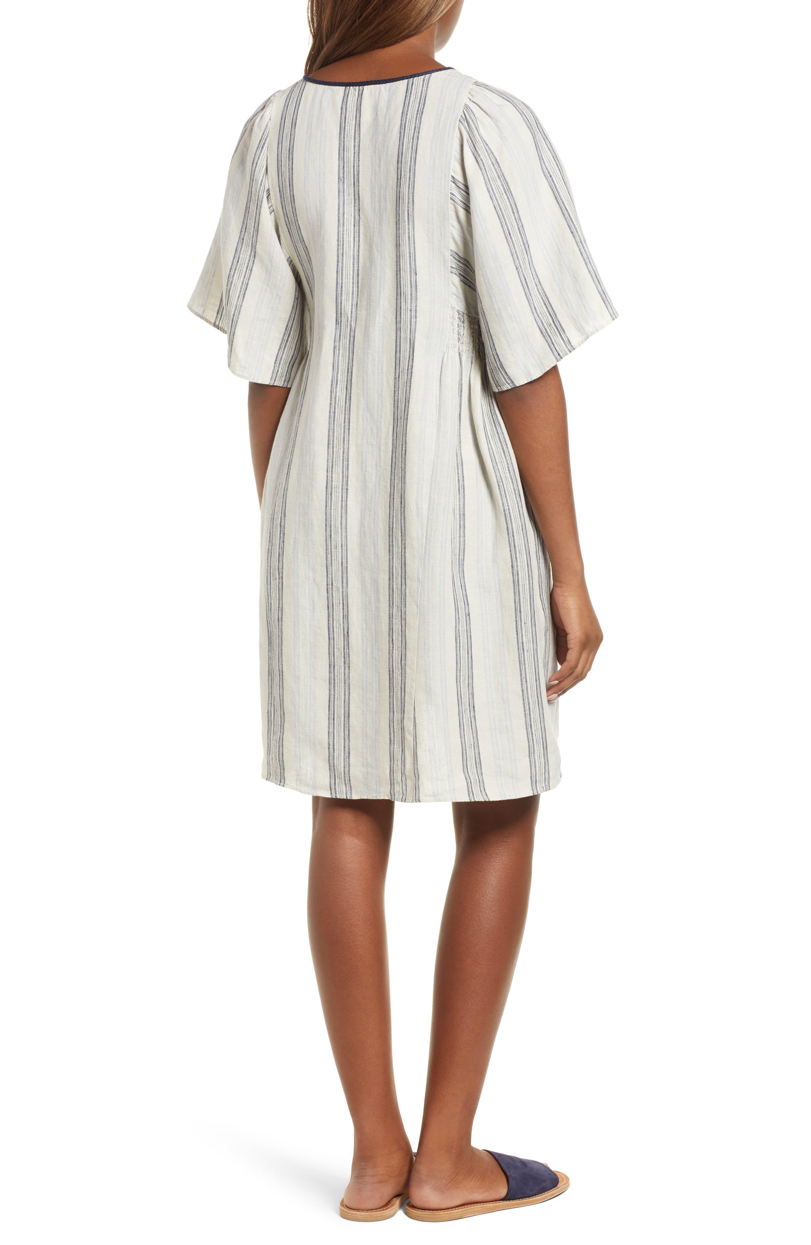 Stripe Linen Keyhole Shift Dress,                             Alternate thumbnail 2, color,                             Beige Rainy Day Frankie Stripe