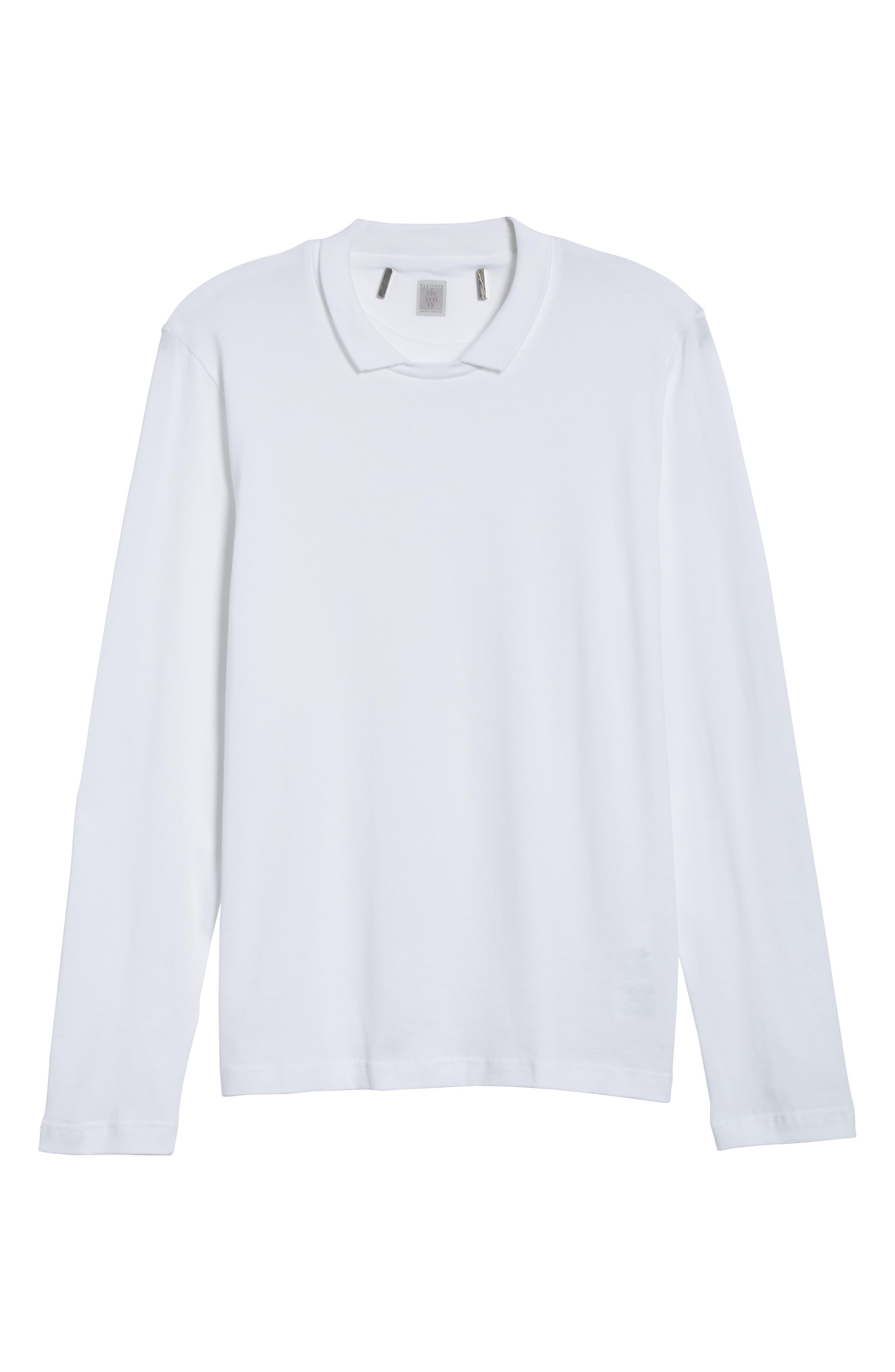 Long Sleeve Polo Shirt,                             Alternate thumbnail 6, color,                             Ivory