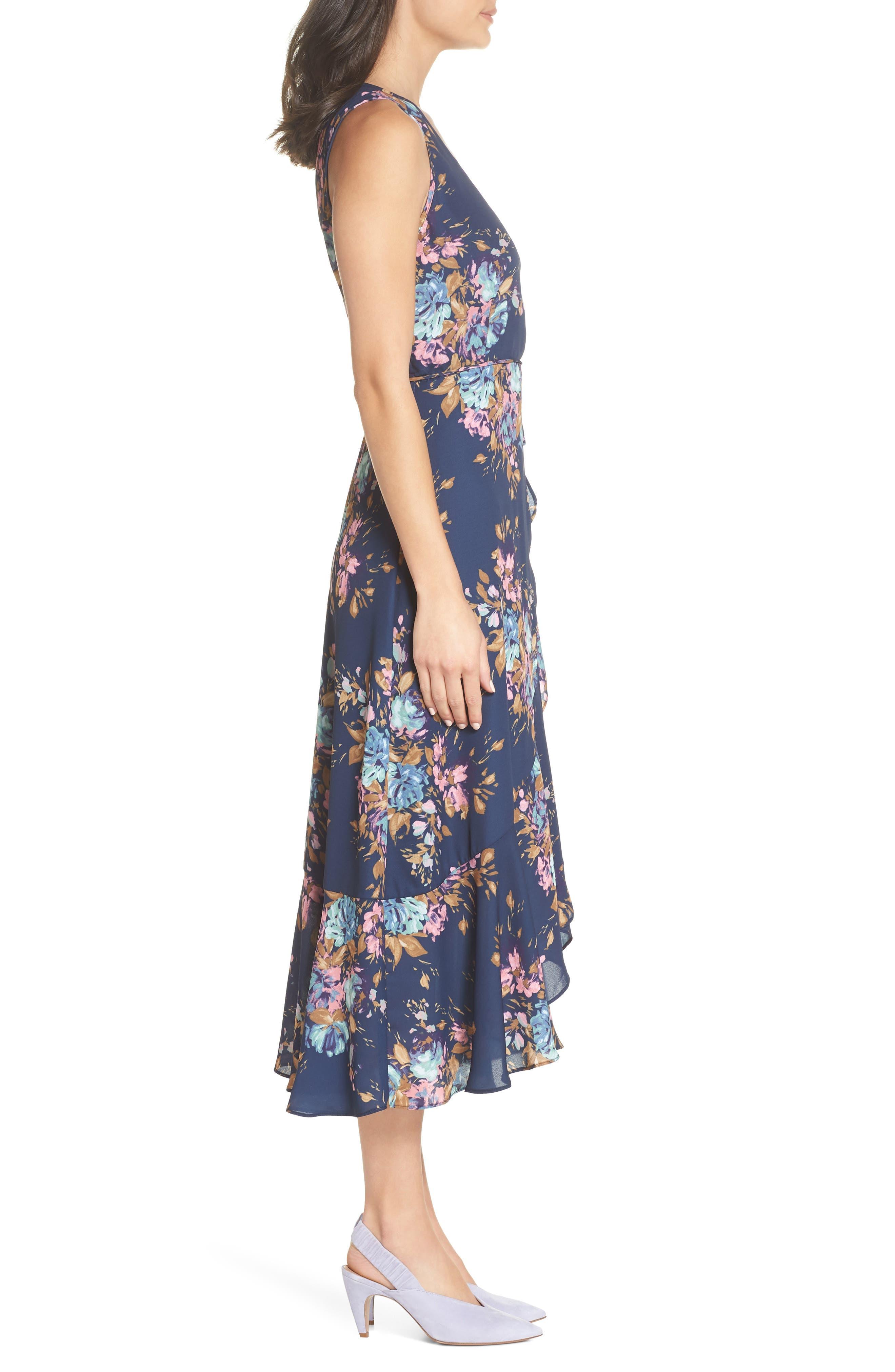 Floral Sleeveless Wrap Dress,                             Alternate thumbnail 3, color,                             Navy Floral