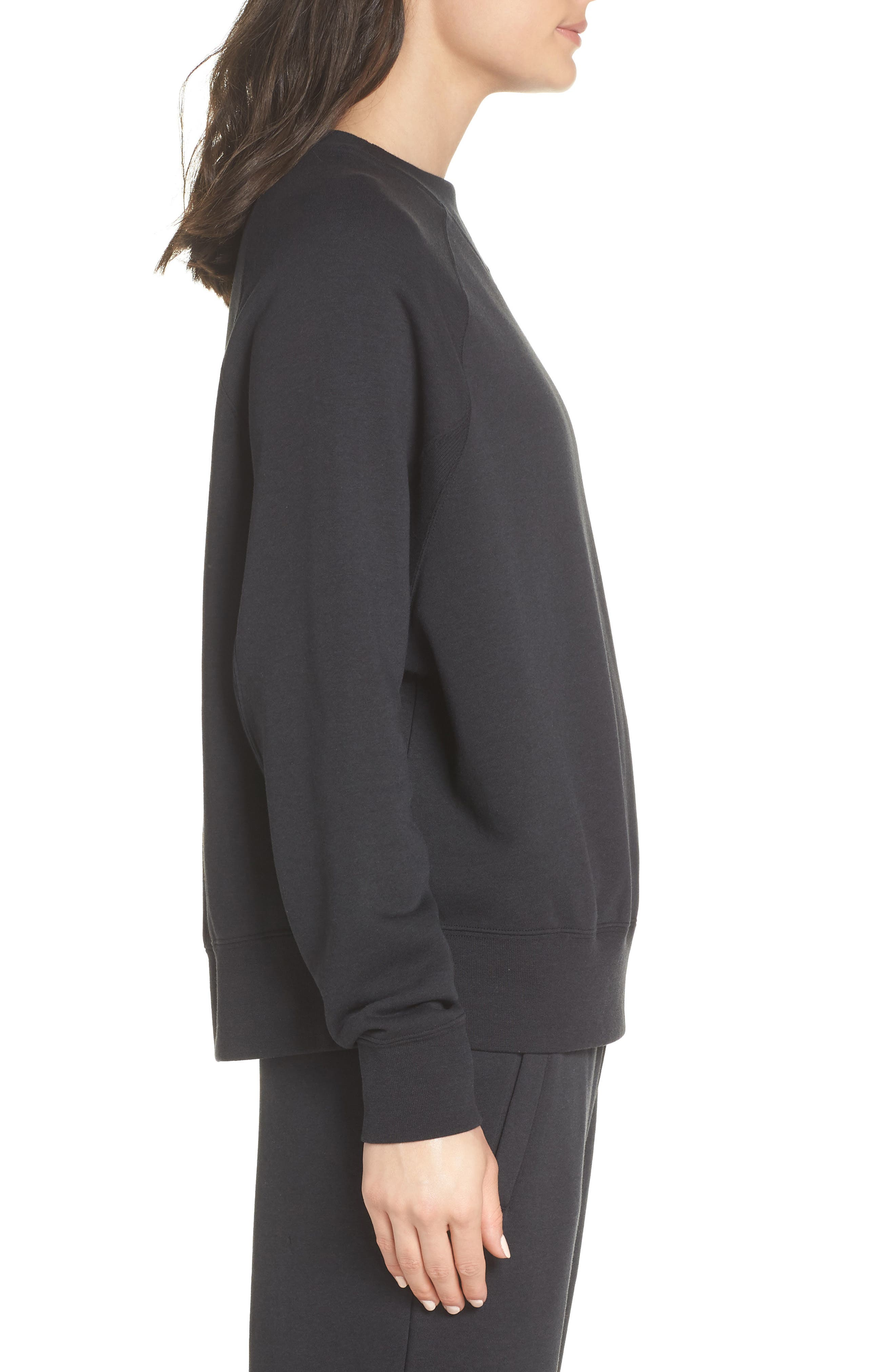 Sportswear Rally Sweatshirt,                             Alternate thumbnail 3, color,                             Black/ White