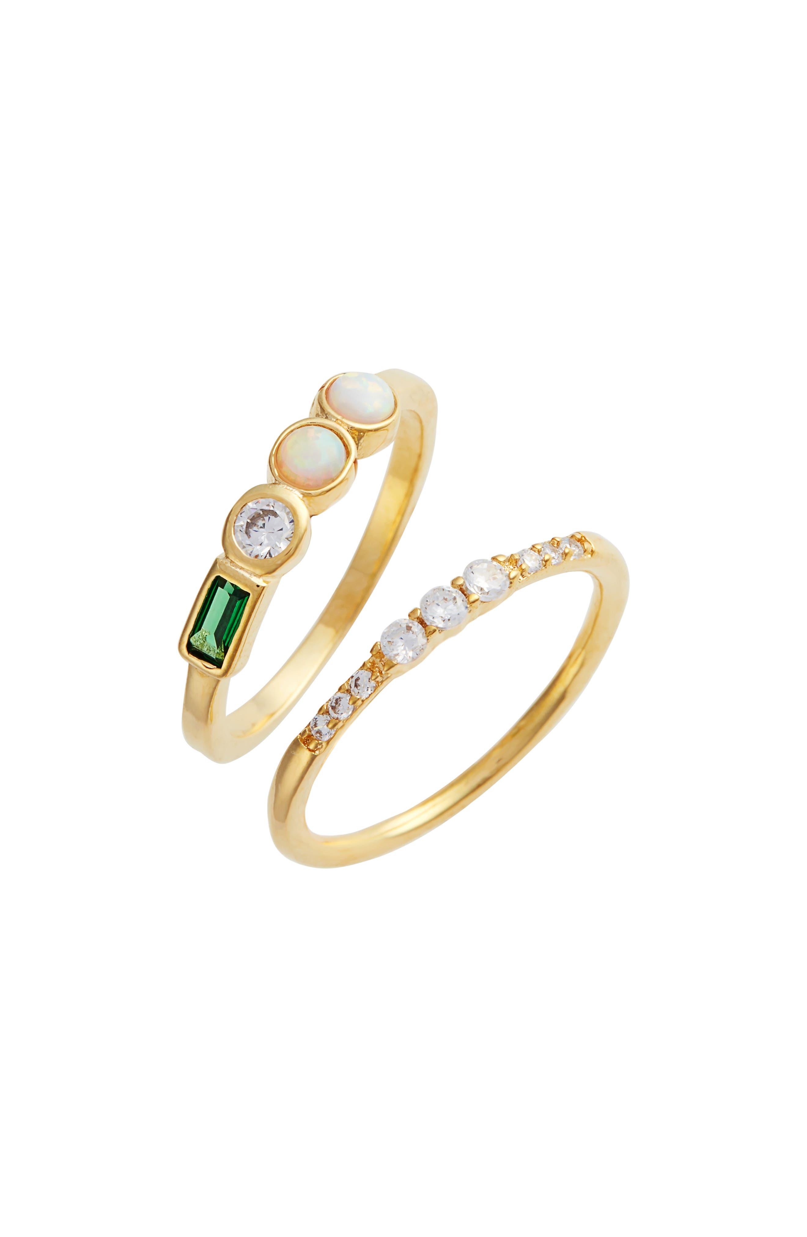 Shiny Stack Set of 2 Emerald, Opal & Crystal Rings,                             Main thumbnail 1, color,                             Gold