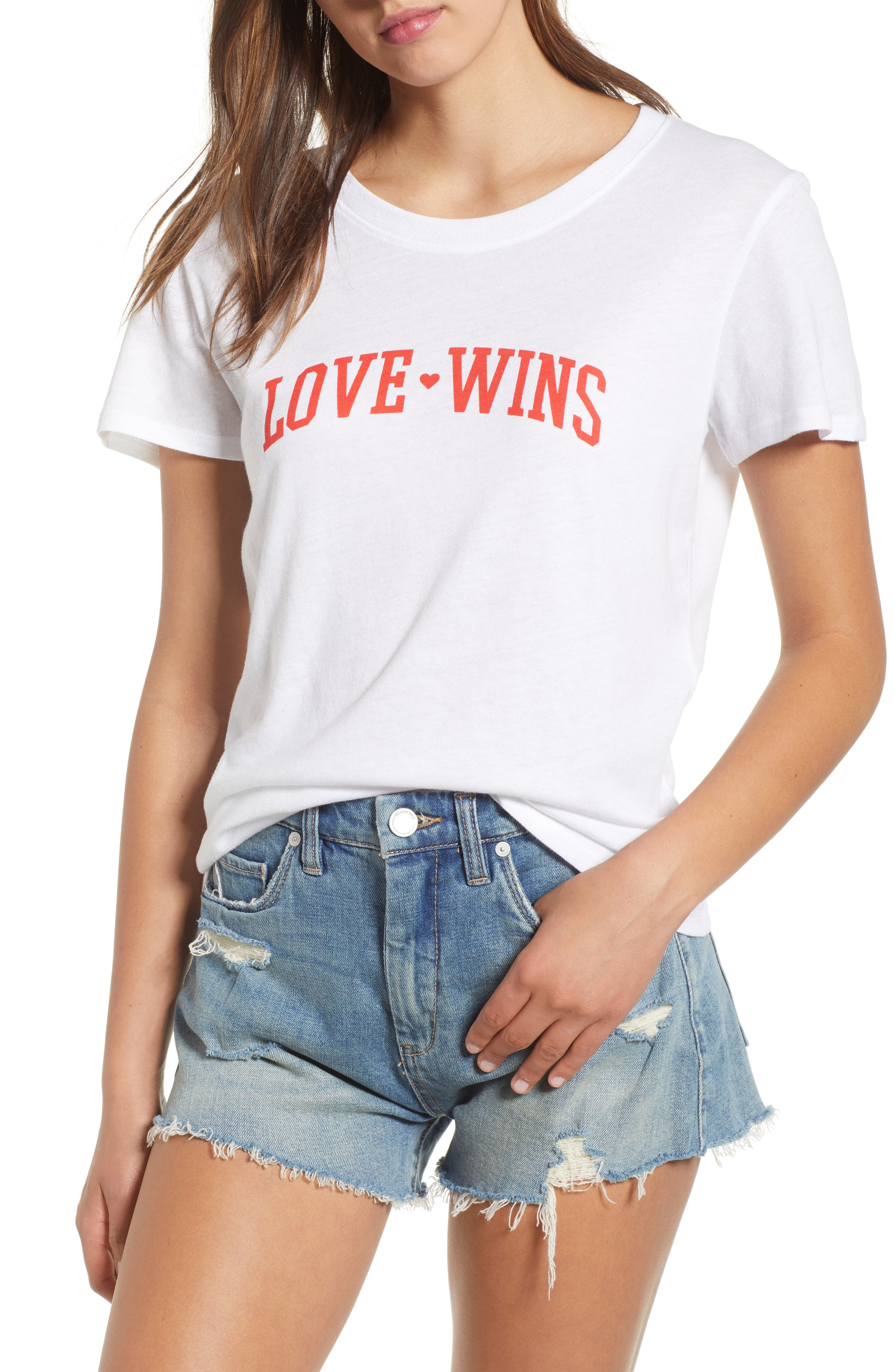 Love Wins Slouched Tee,                         Main,                         color, White