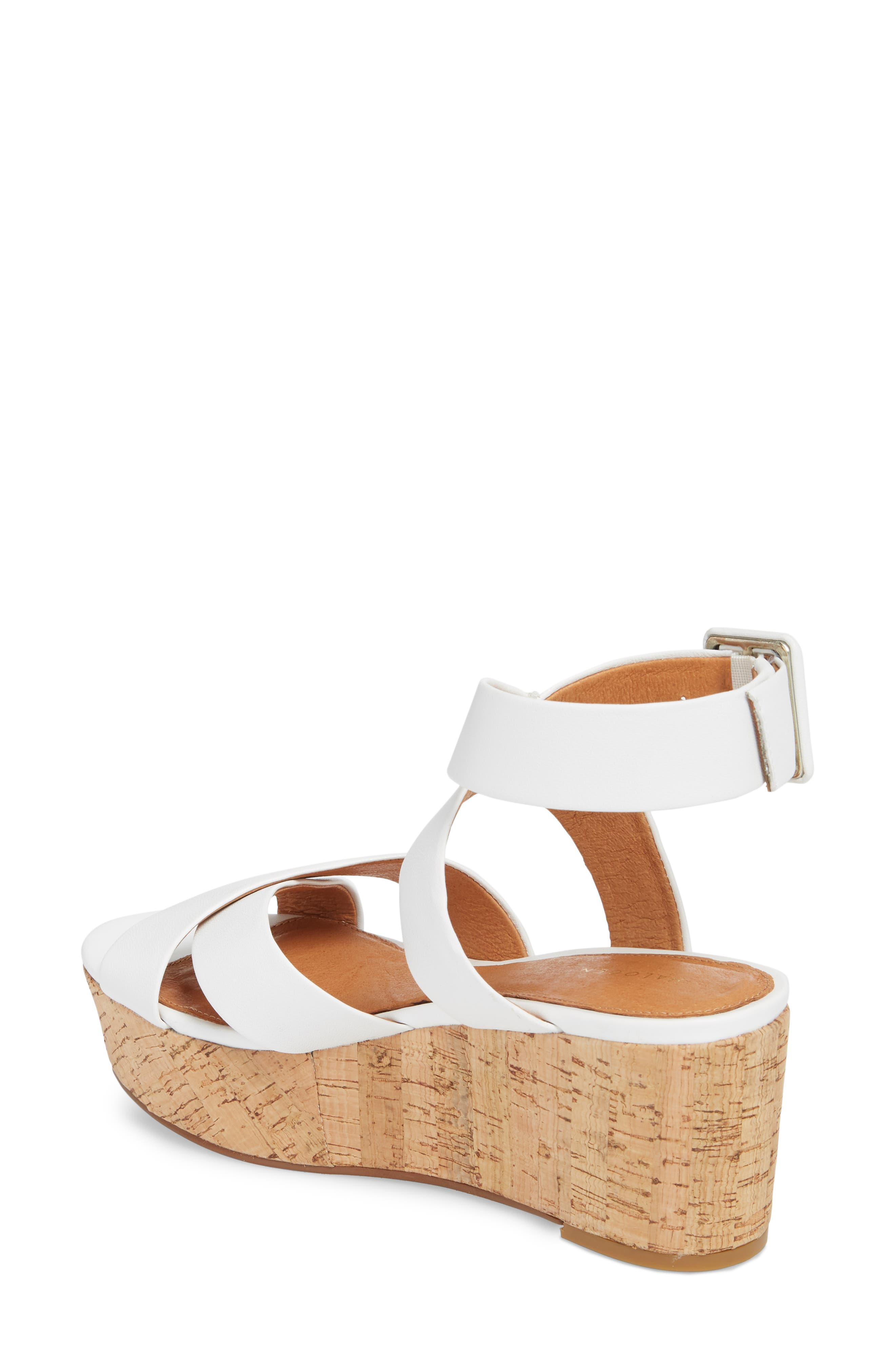 Evie Platform Wedge Sandal,                             Alternate thumbnail 2, color,                             White Leather