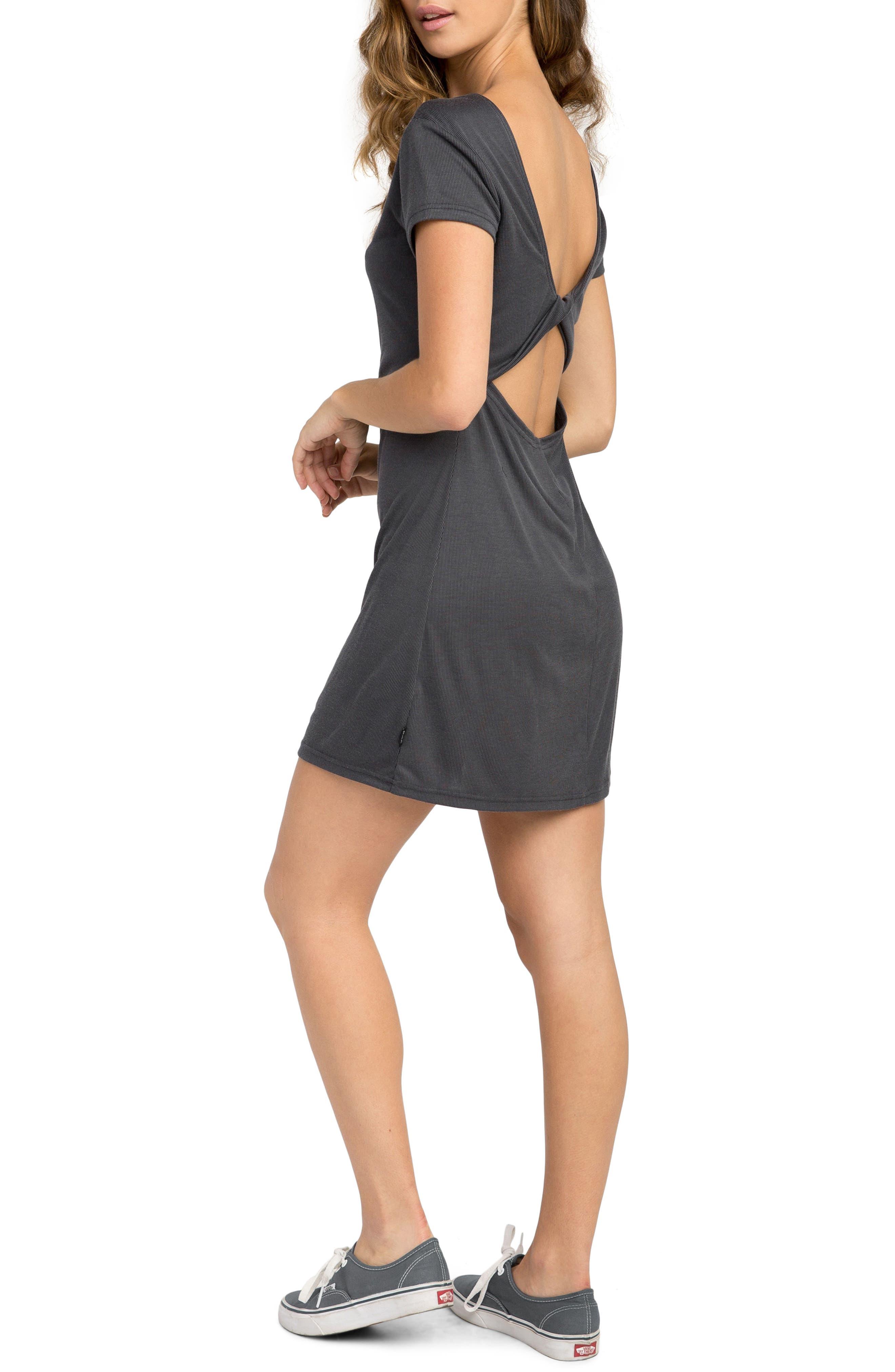 Wallflower Rib Knit Dress,                             Alternate thumbnail 3, color,                             Black