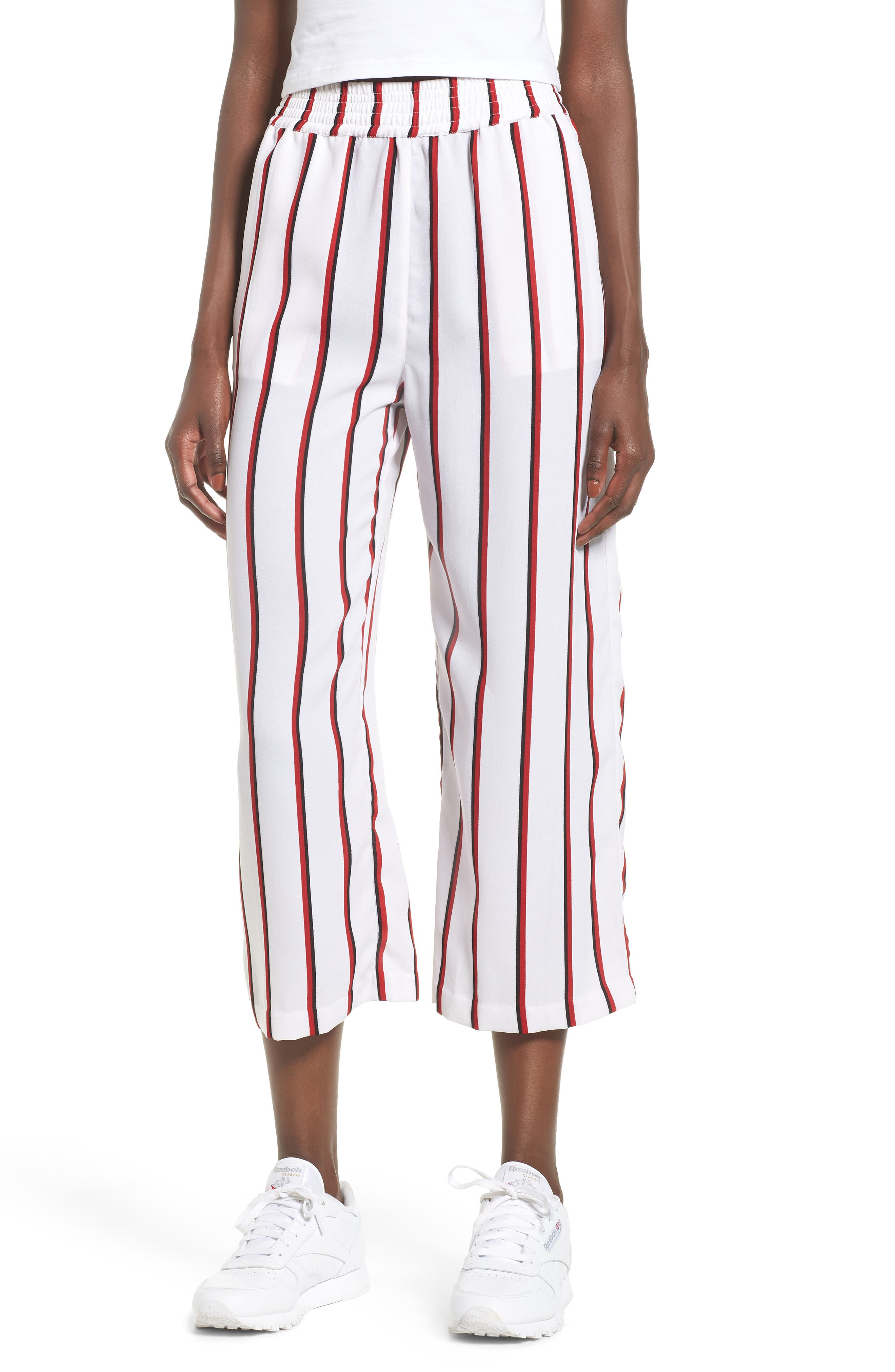 Counting Moons Stripe Culottes,                             Main thumbnail 1, color,                             Chili Red