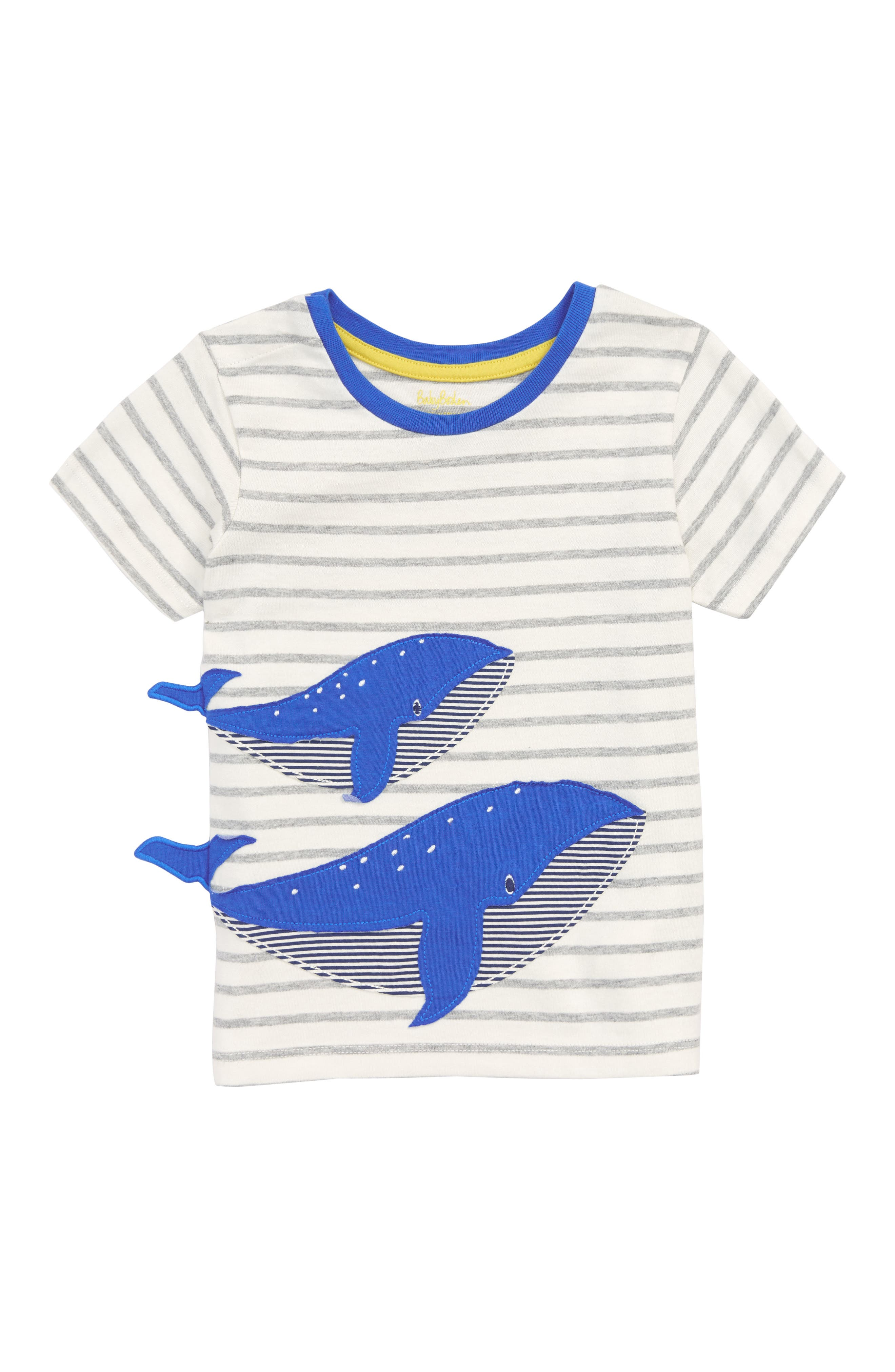 Whale Appliqué T-Shirt,                         Main,                         color, Ivory/ Grey Marl