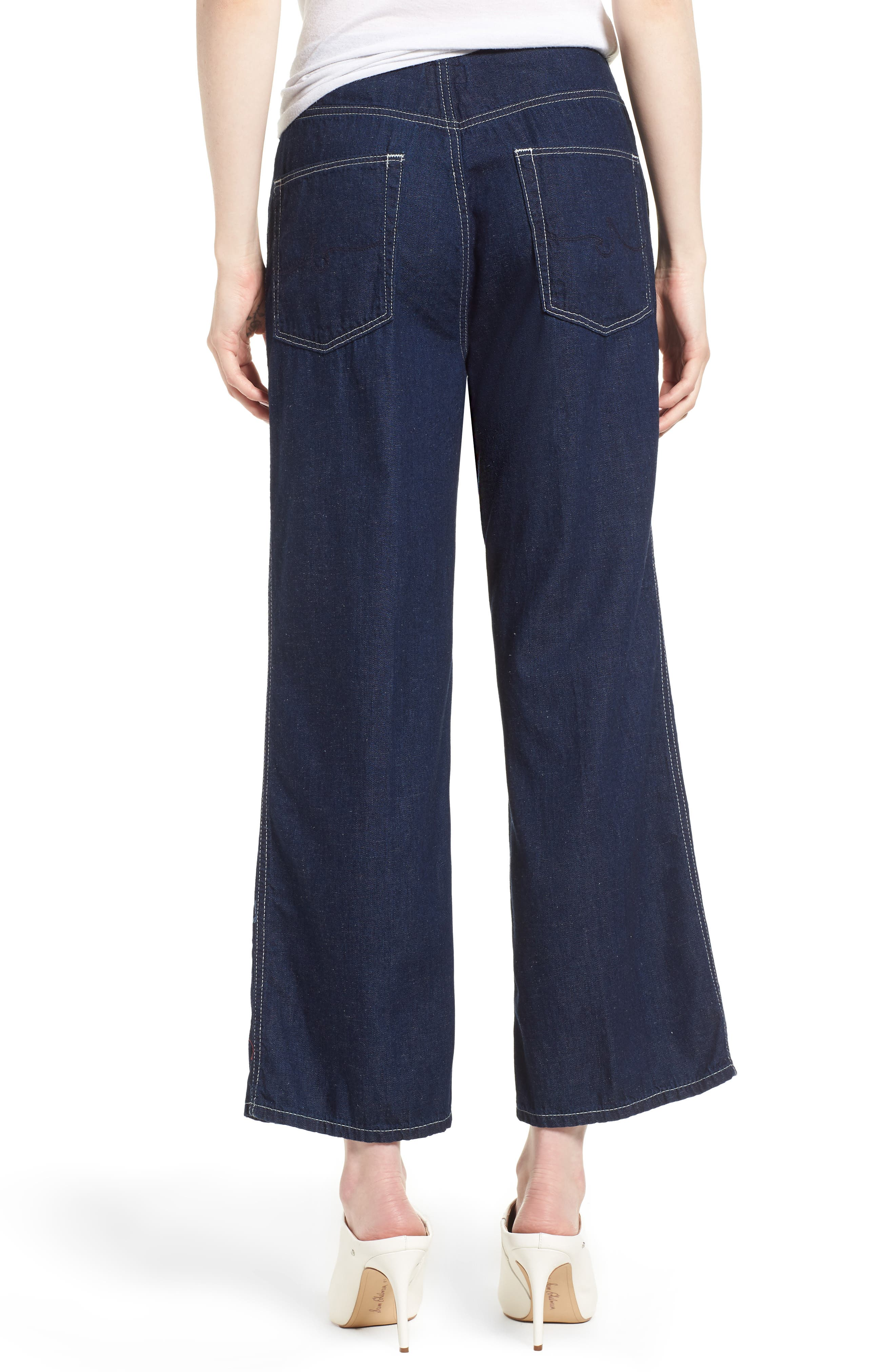 Etta High Waist Crop Wide Leg Jeans,                             Alternate thumbnail 2, color,                             Midnight Surge