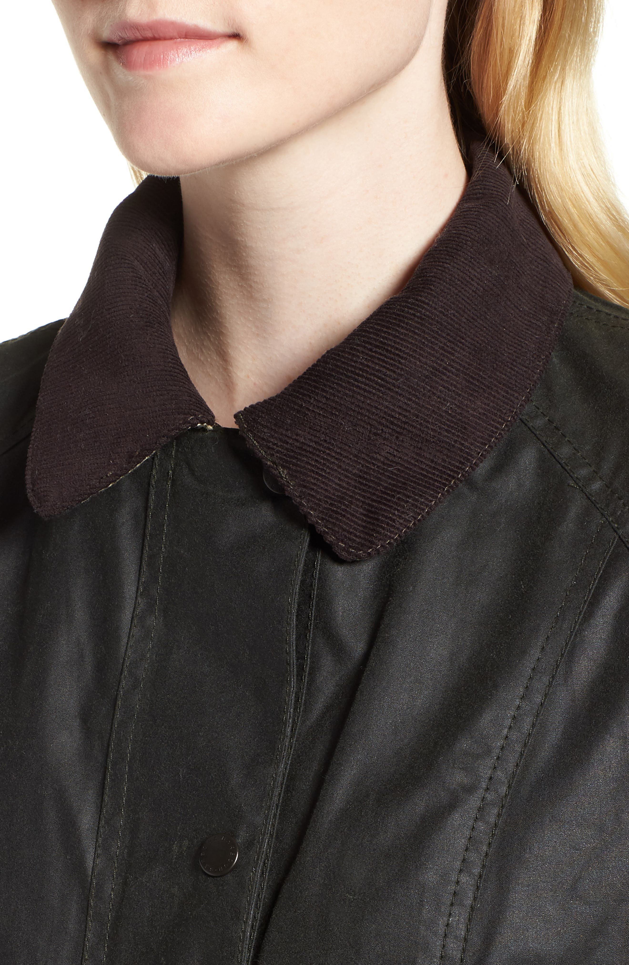 Beadnell Waxed Cotton Jacket,                             Alternate thumbnail 4, color,                             Sage