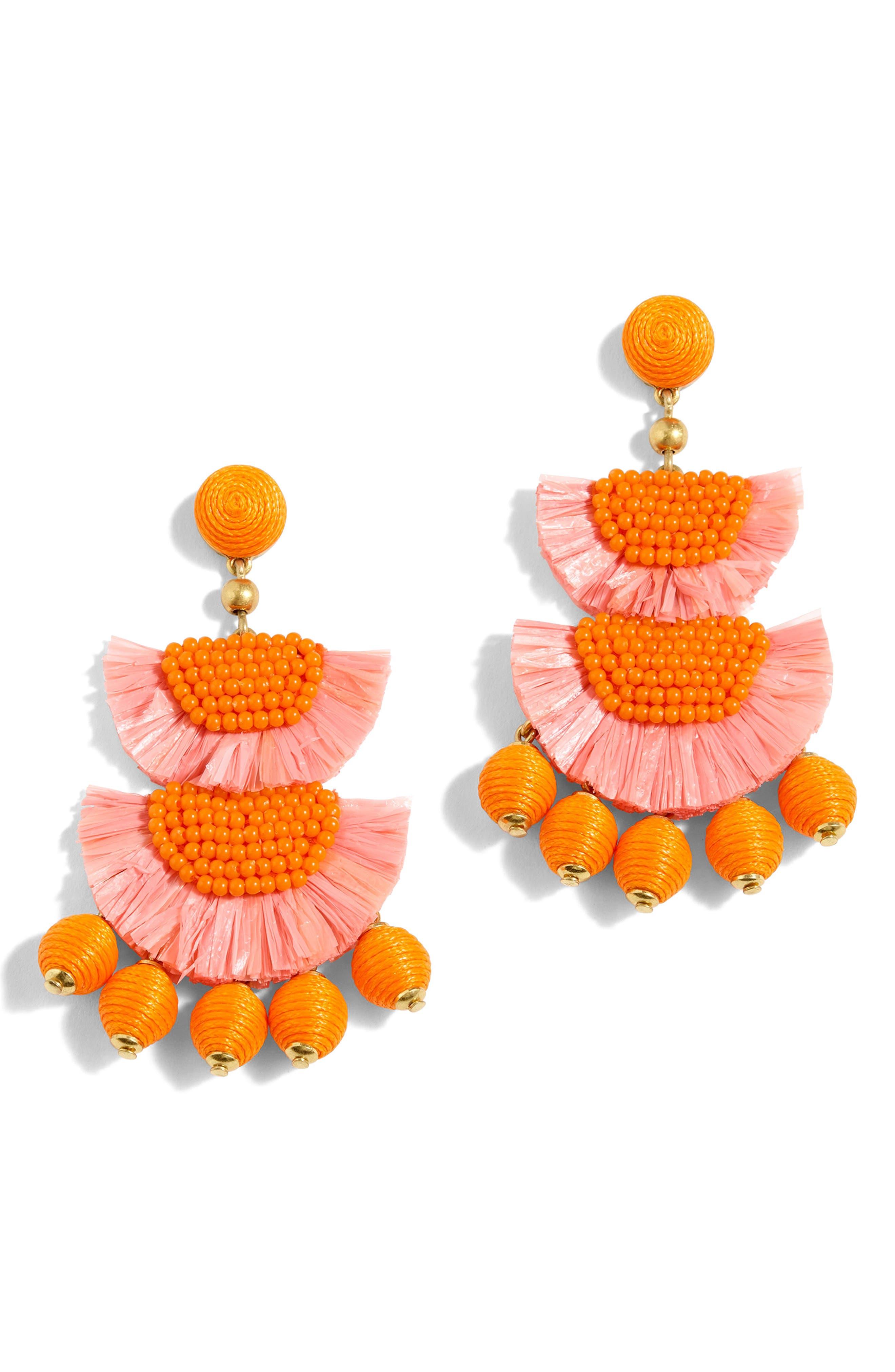 Bead & Raffia Earrings,                             Main thumbnail 1, color,                             Brilliant Peony