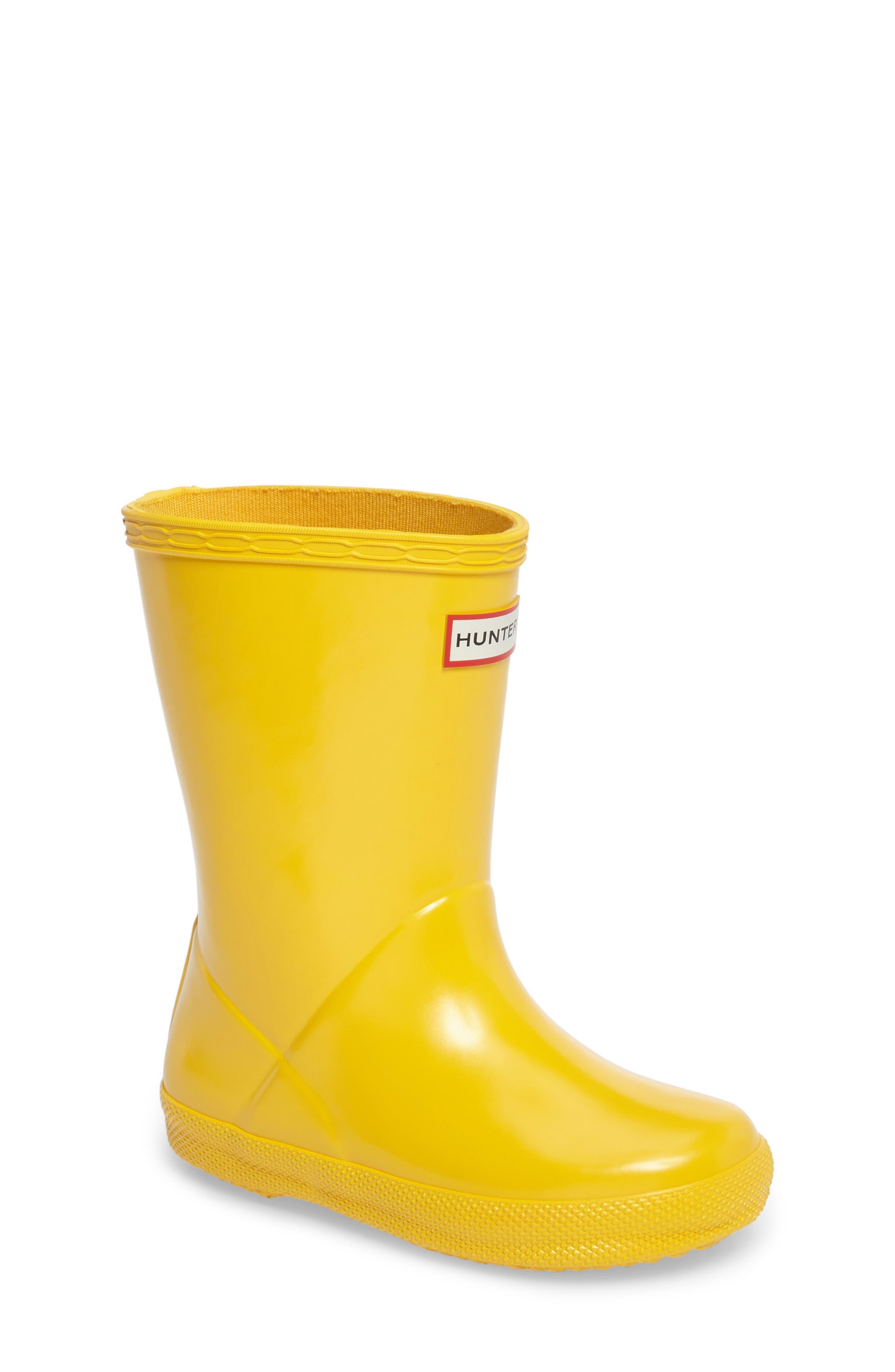 'First Gloss' Rain Boot,                             Main thumbnail 1, color,                             Yellow Gloss