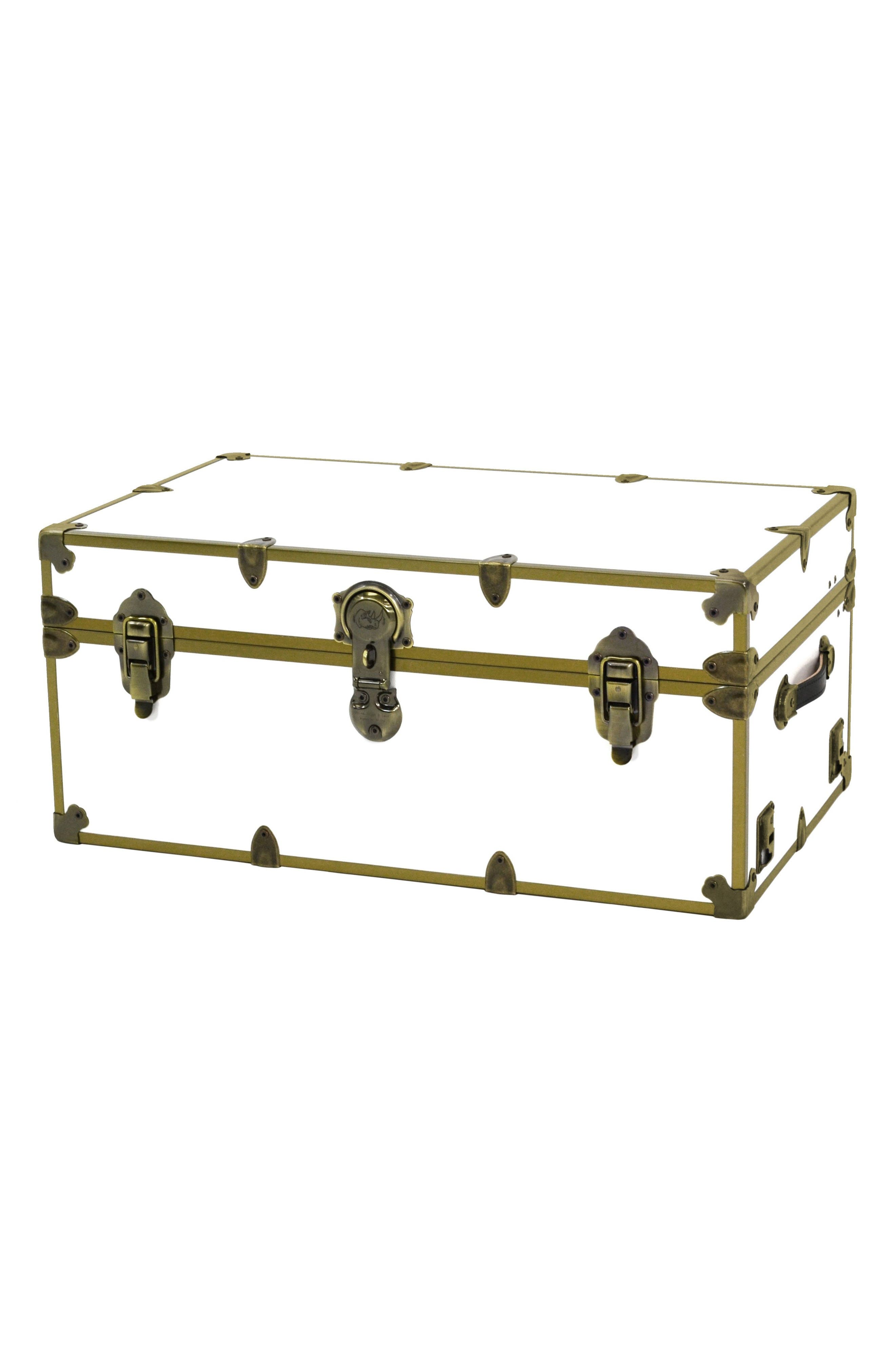 Rhino Trunk & Case Large Brass Armor Trunk,                             Main thumbnail 1, color,                             White