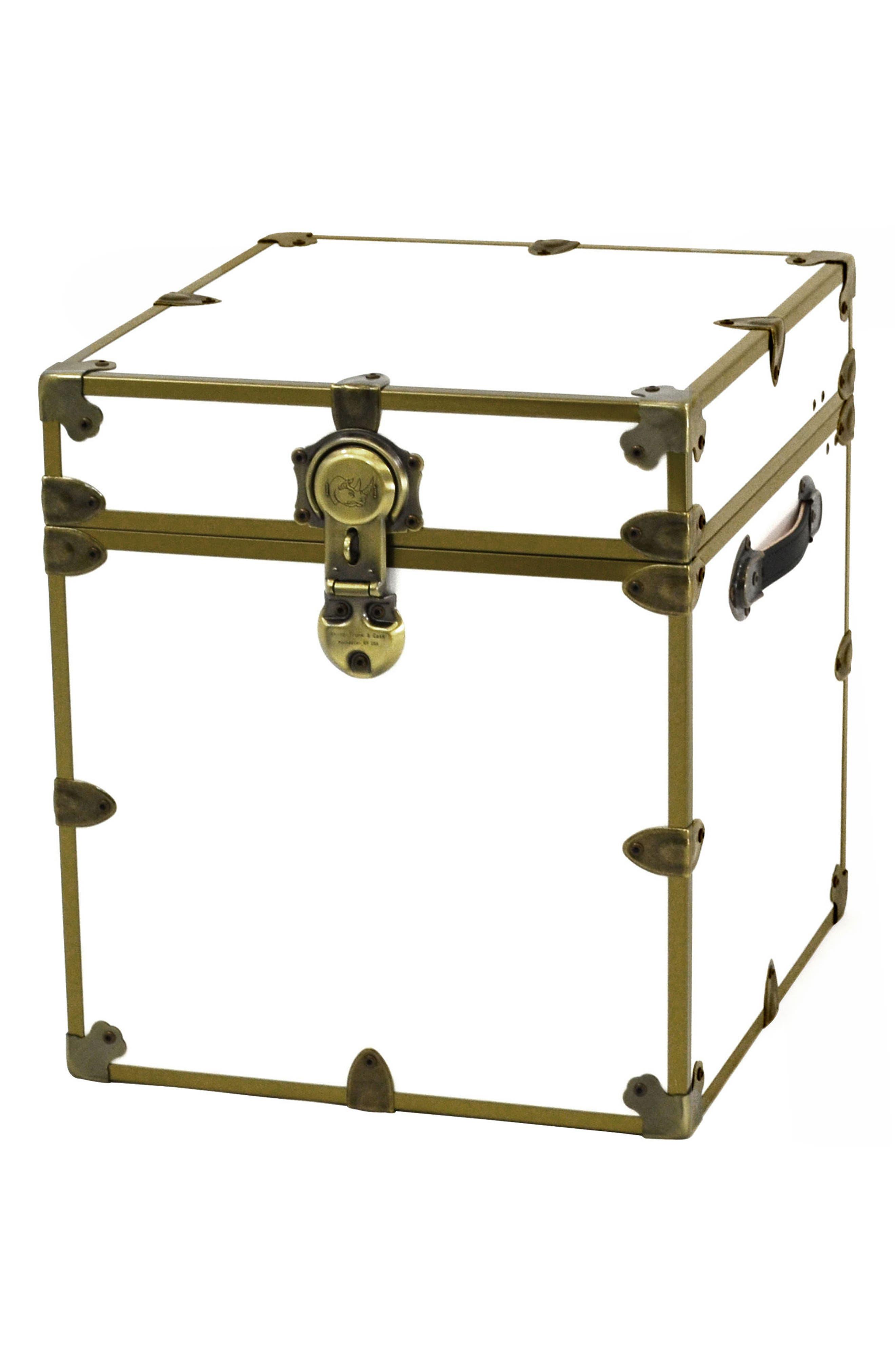 Rhino Trunk & Case Brass Armor Cube Trunk,                             Main thumbnail 1, color,                             White