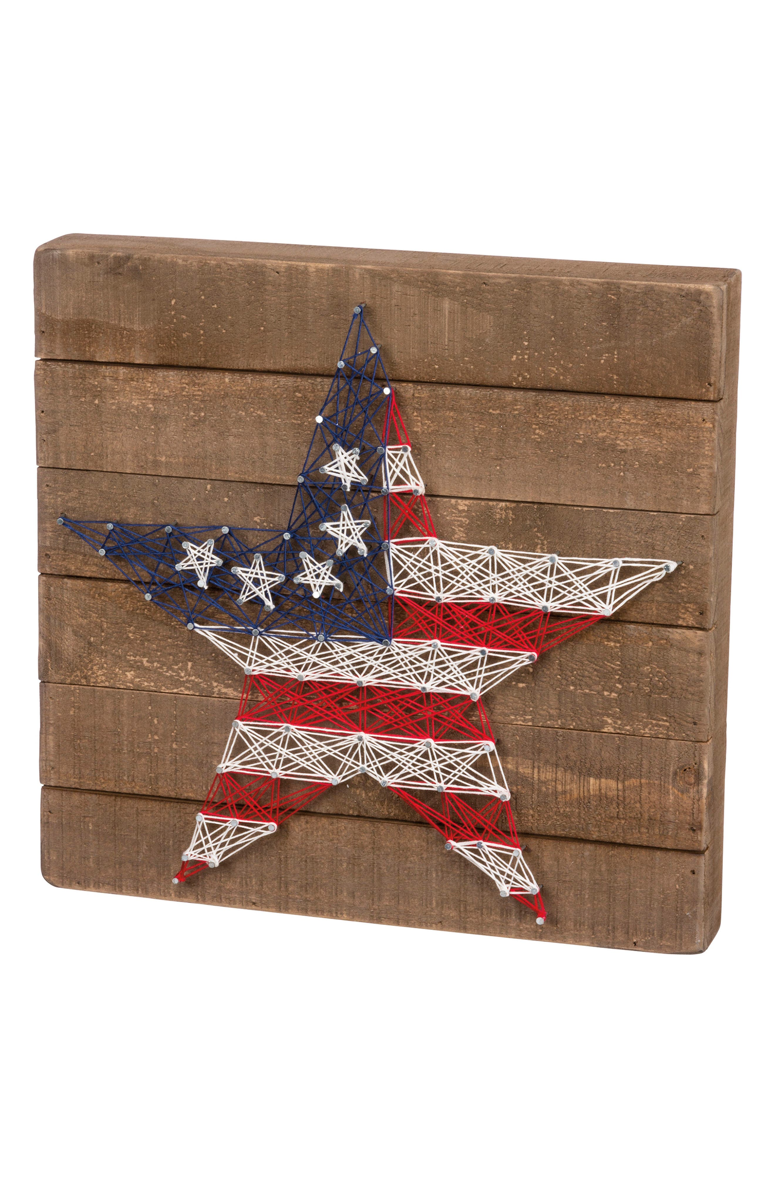 Stars & Stripes String Art Box Sign,                         Main,                         color, Brown