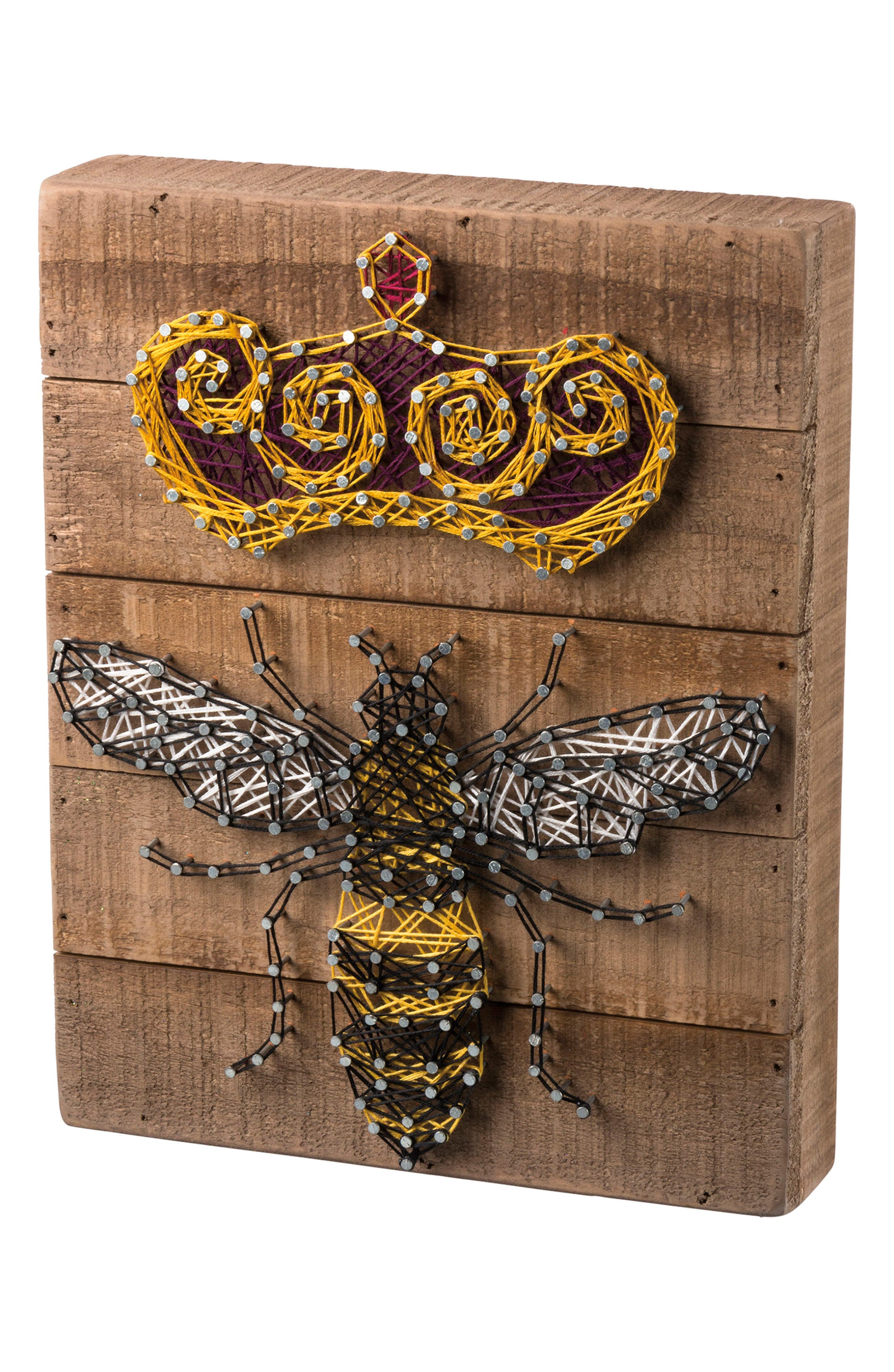 Queen Bee String Art Box Sign,                             Main thumbnail 1, color,                             Brown